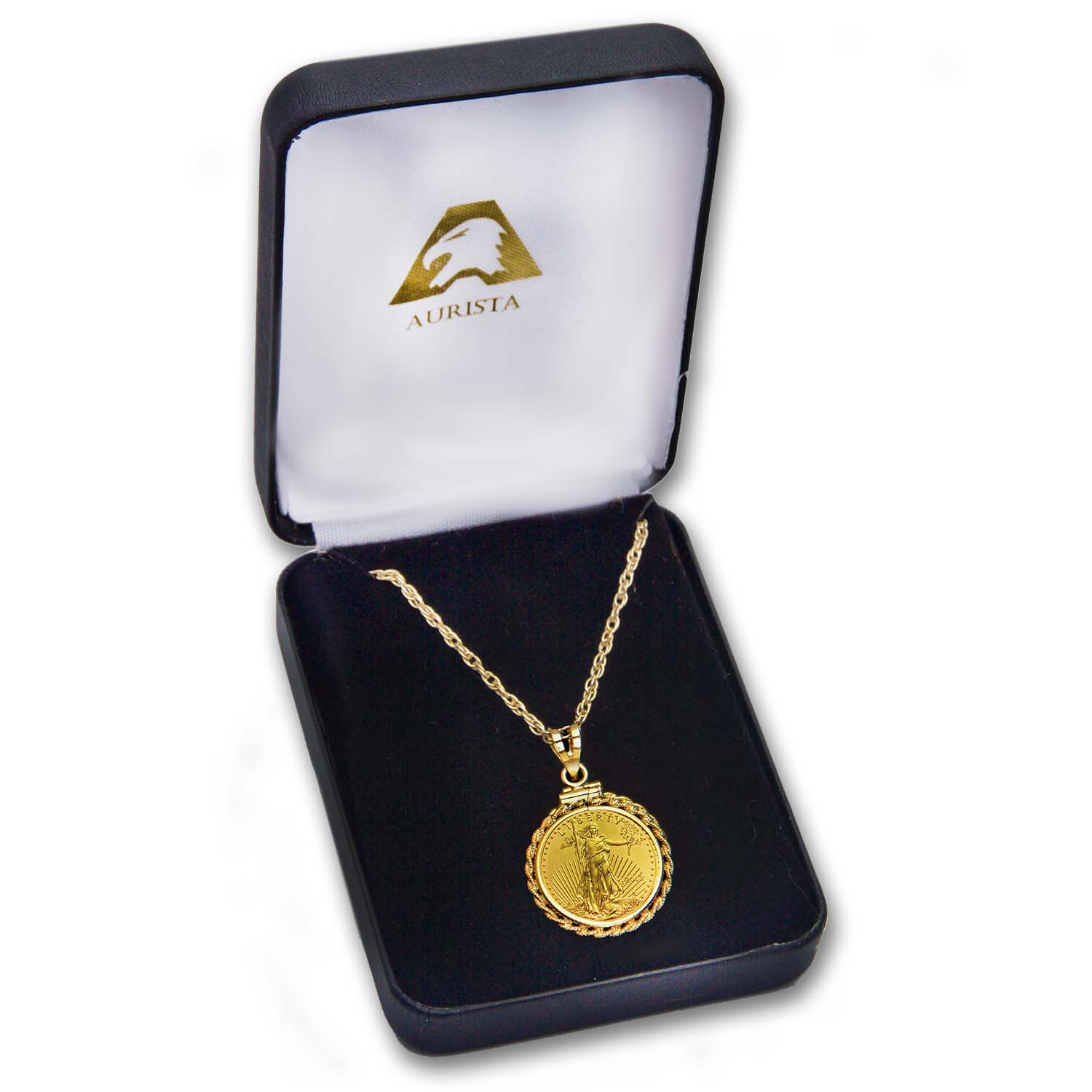 2013 1/10 oz Gold Eagle Rope Pendant & Necklace