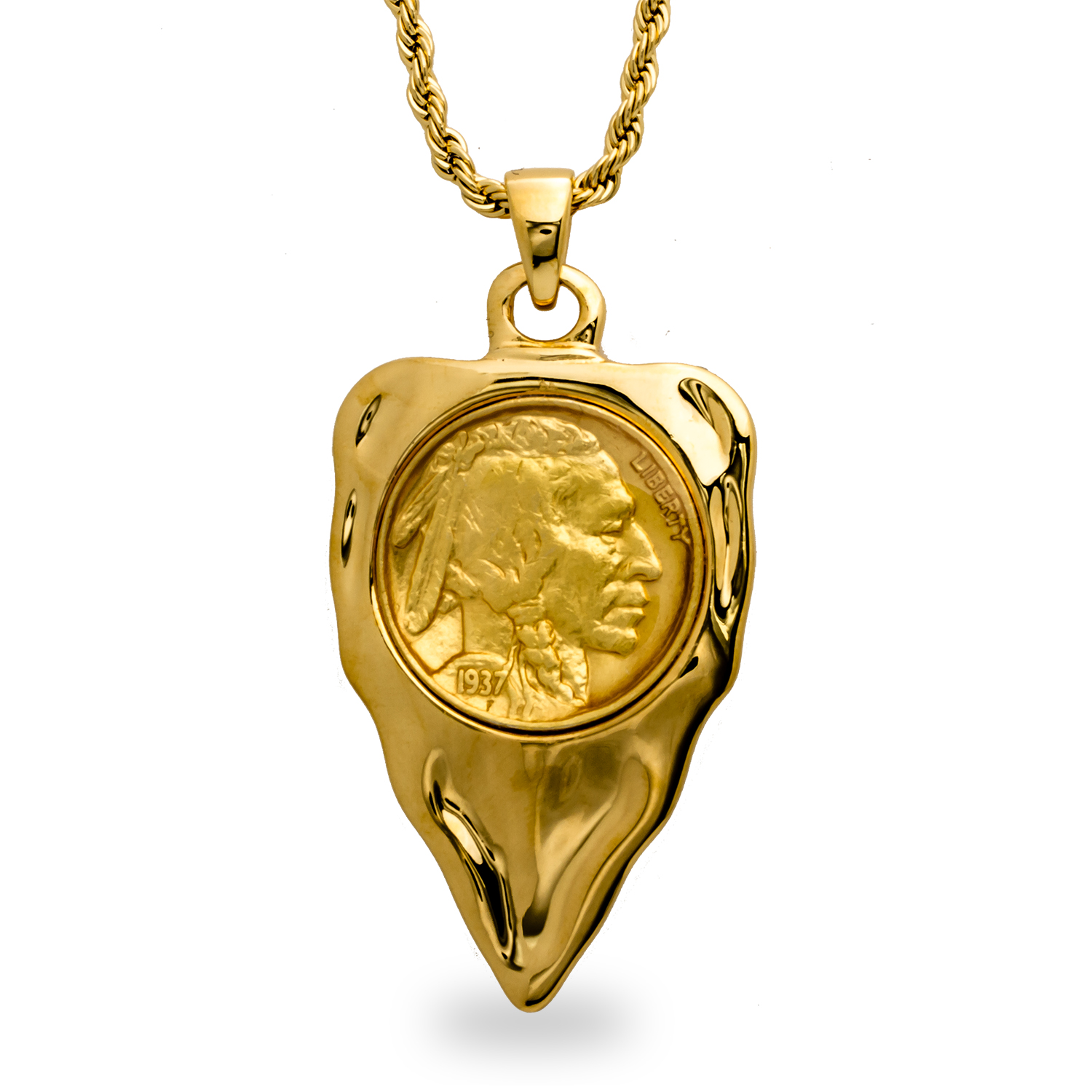 Gold Plate Buffalo Nickel Arrowhead Necklace