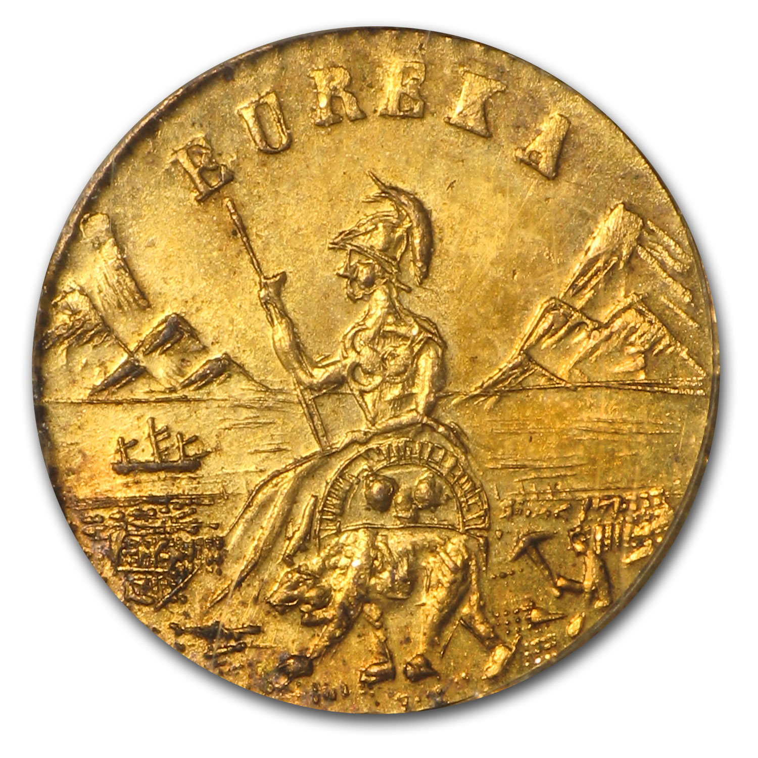 1885 Arms of California Fractional Gold Token MS-65 NGC