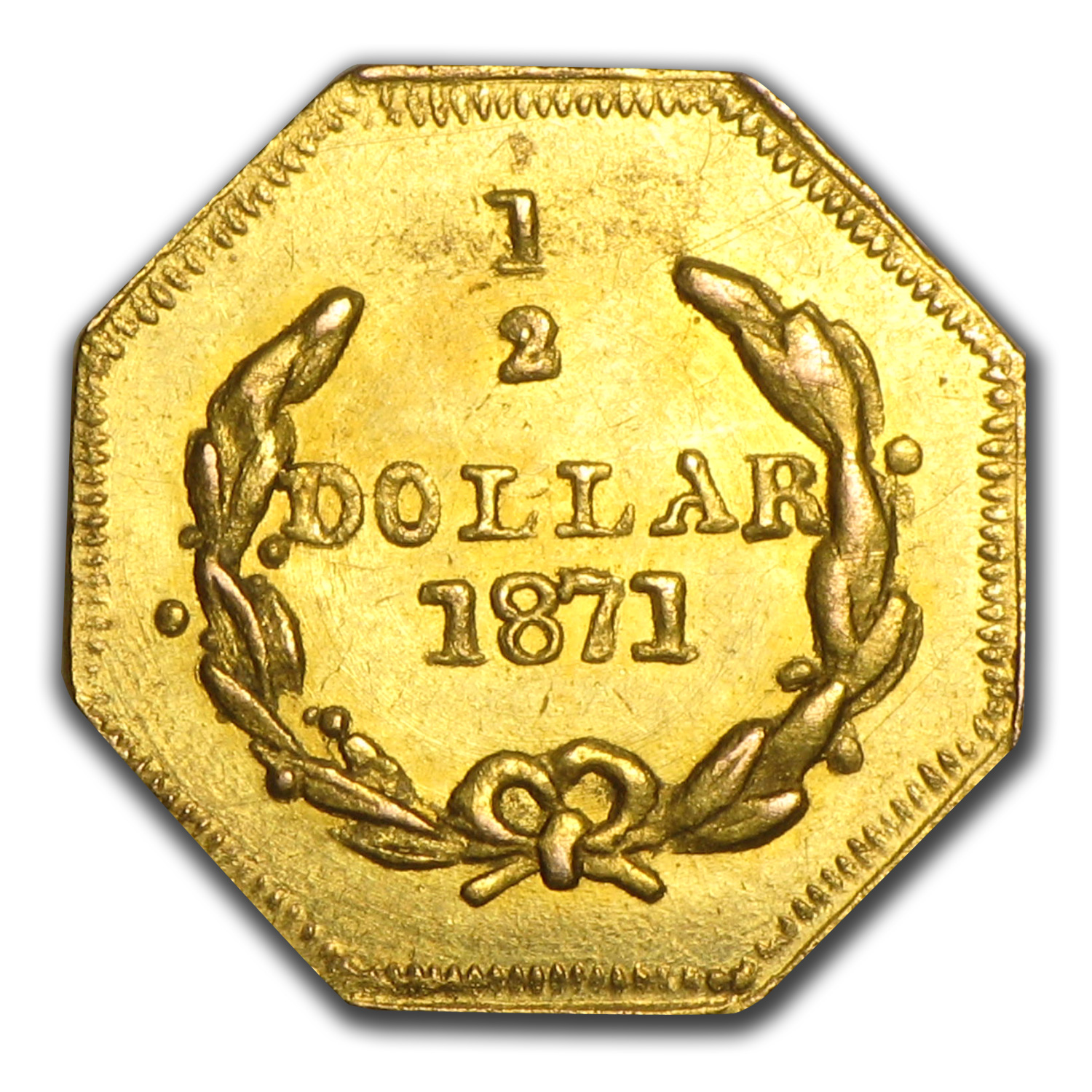 1871 Liberty Octagonal 50 Cent Gold MS-61 (BG-910)