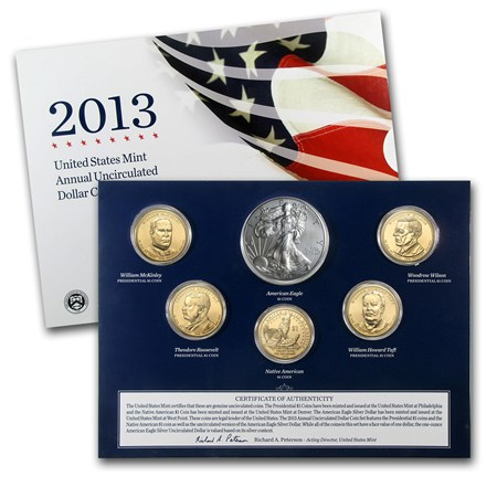 2013 W 6 Coin U S Mint Annual Uncirculated Dollar Set