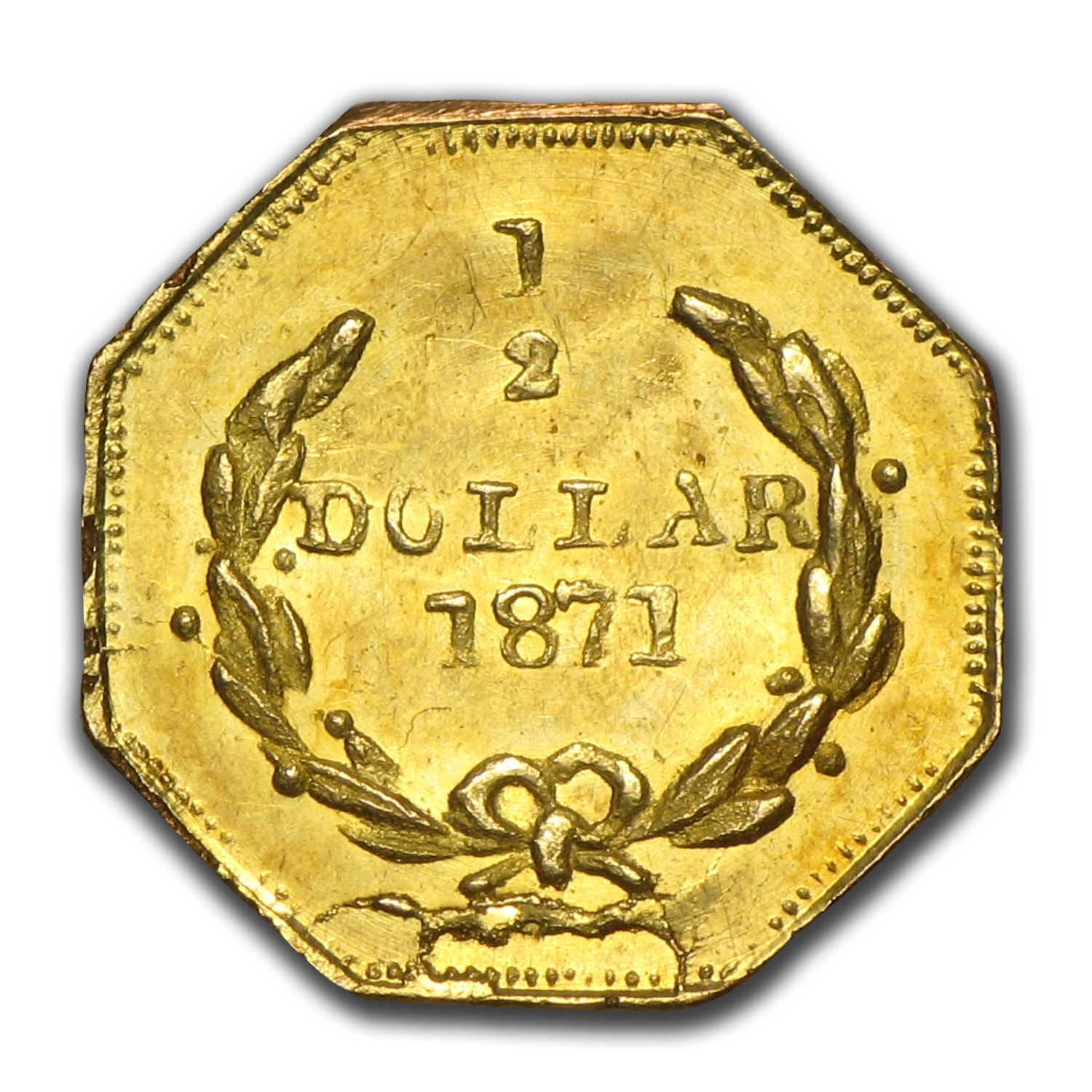1871 BG-912 Liberty Octagonal 50 Cent Gold MS-63