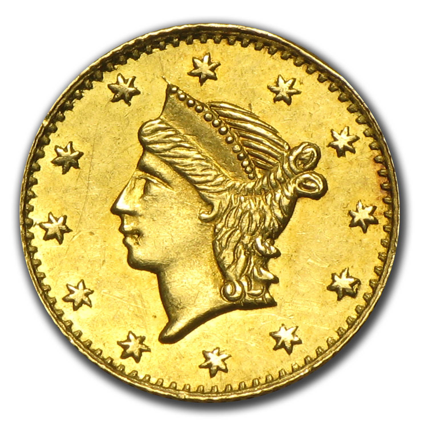 (1853) BG-222 Liberty Round 25 Cent Gold MS-62