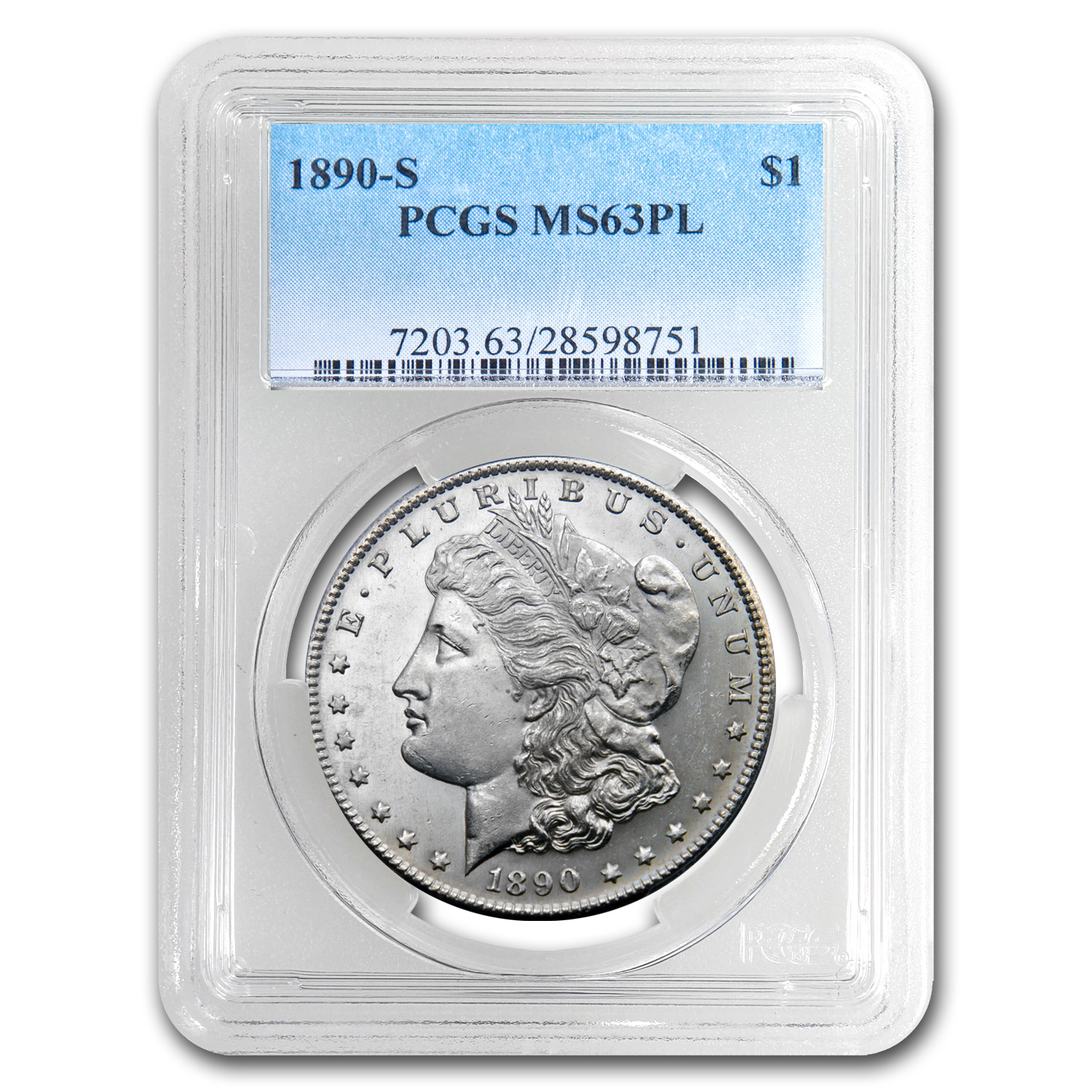 1890-S Morgan Dollar MS-63 PL Proof Like PCGS