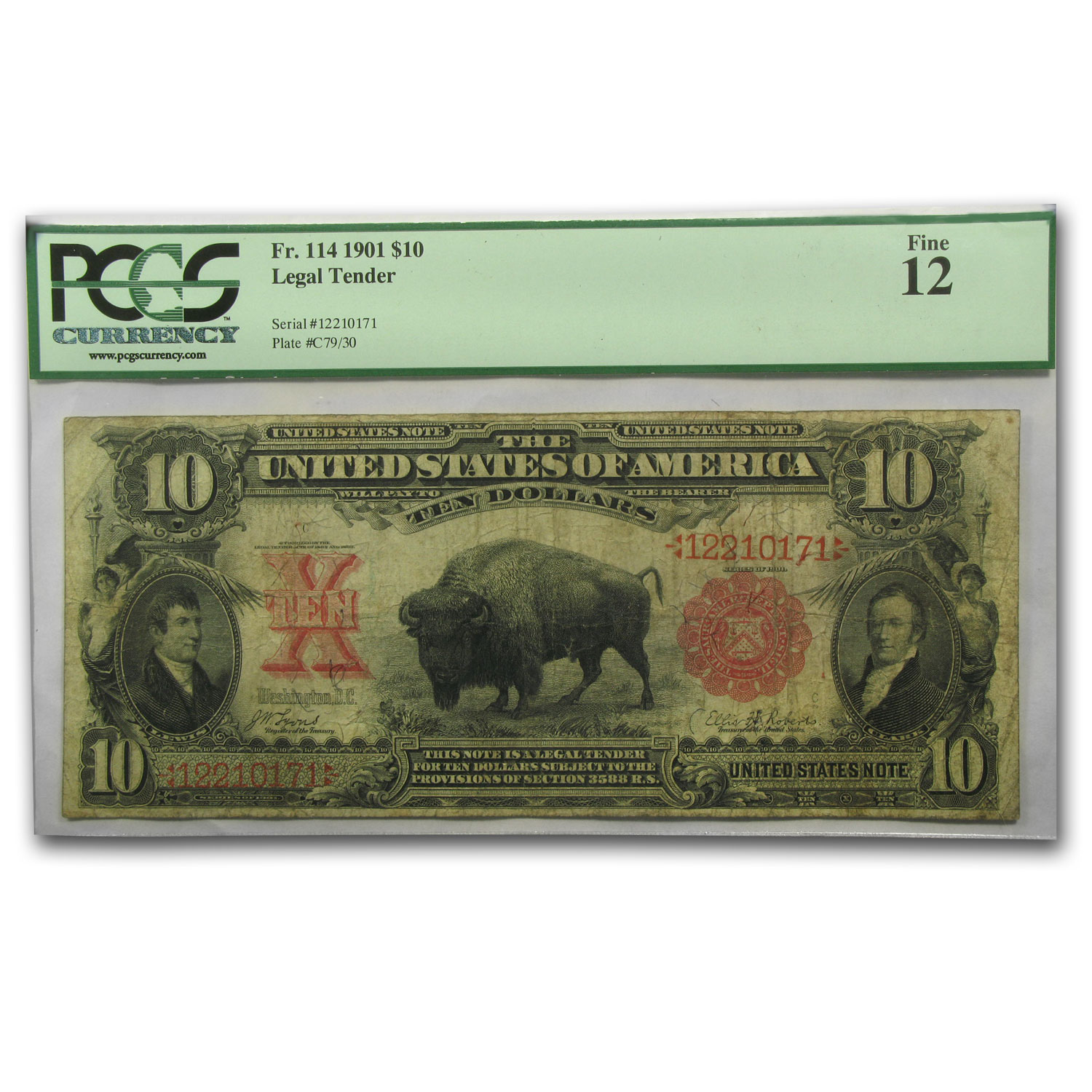 1901 $10 United States Note Lewis & Clark/Bison F-12 PCGS
