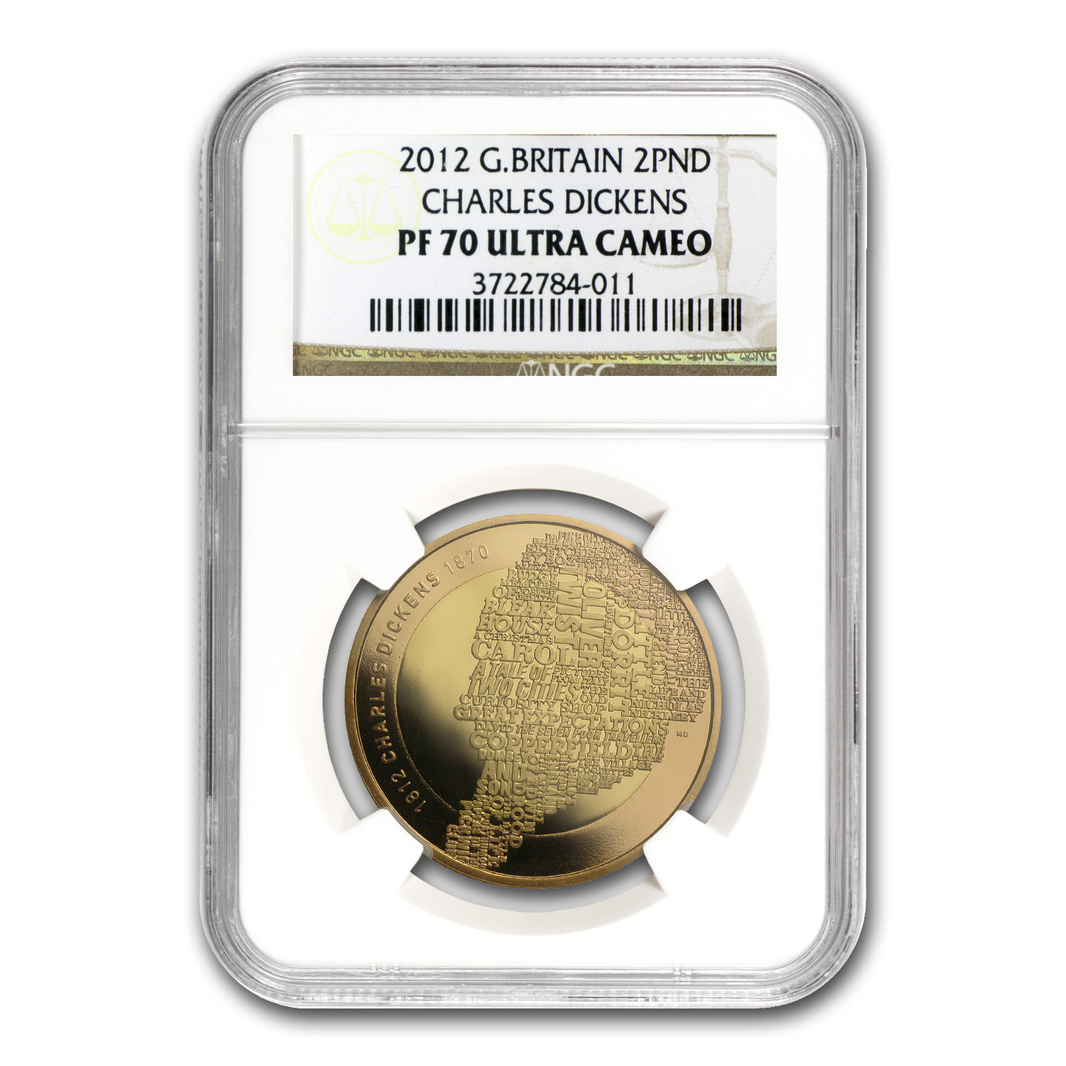 2012 Great Britain £2 Gold Charles Dickens 200th Anniv. PF-70 NGC
