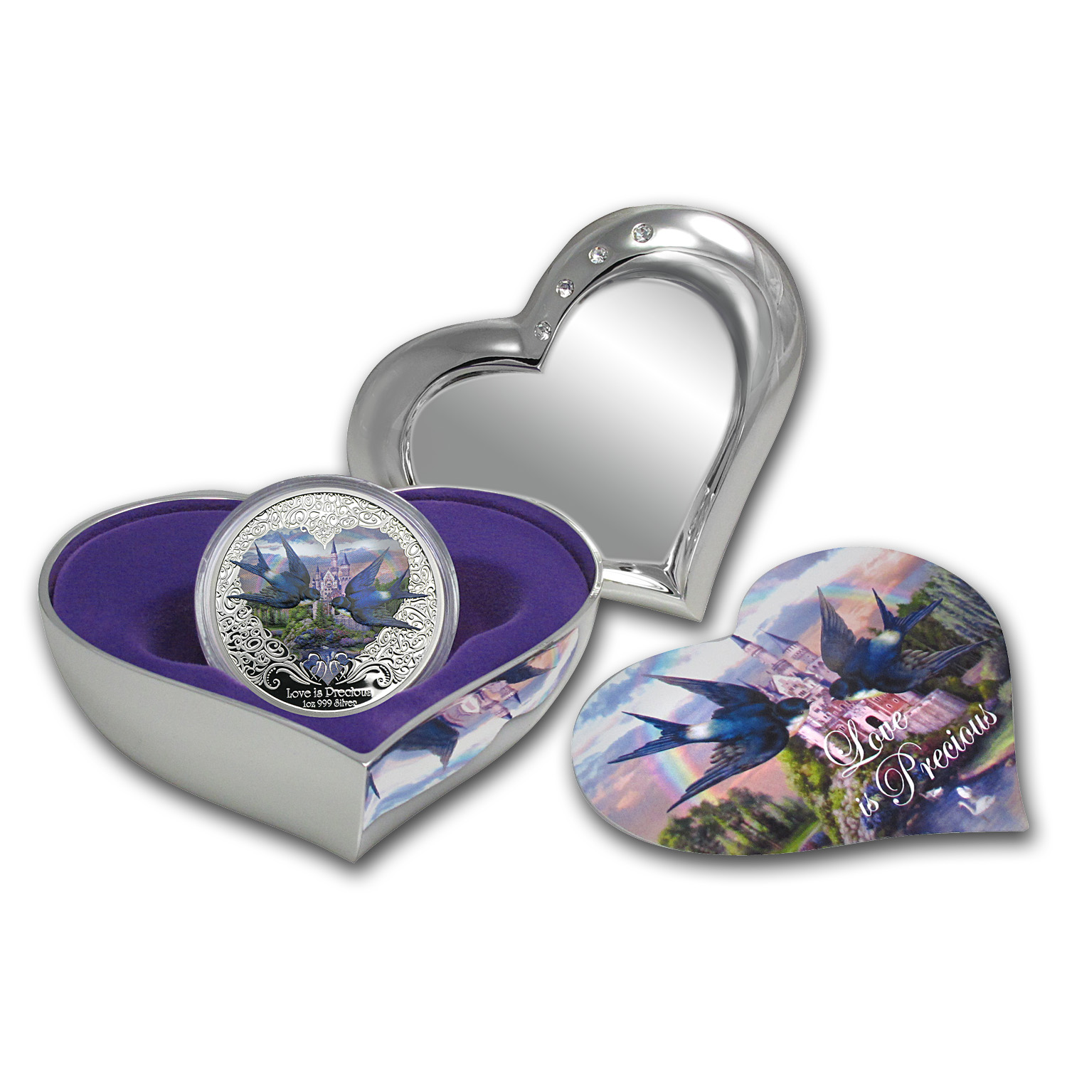 2013 Niue 1 oz Silver $2 Love is Precious Purple Heart (Box/COA)