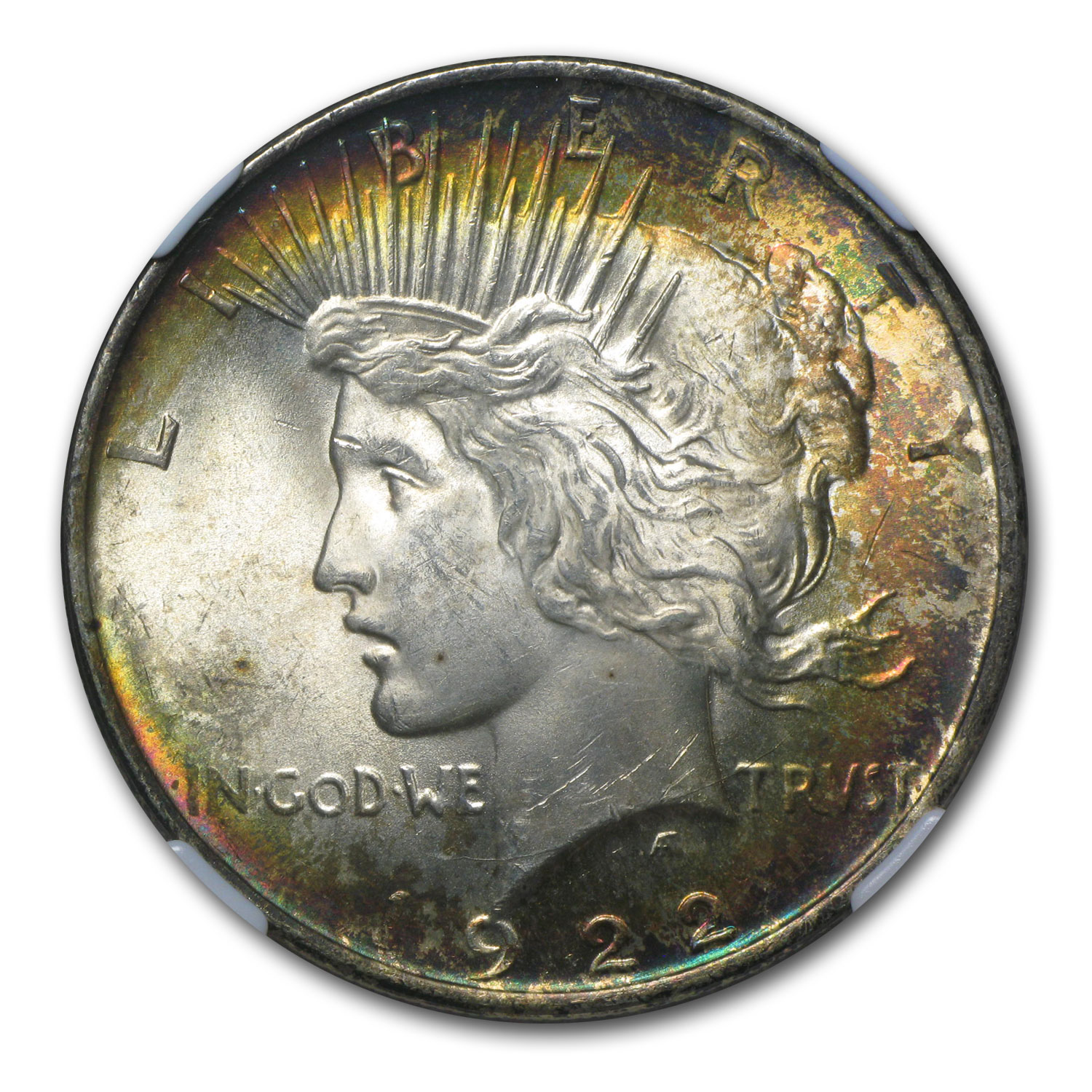 1922 Peace Dollar MS-62 NGC - Beautiful Obverse Toning