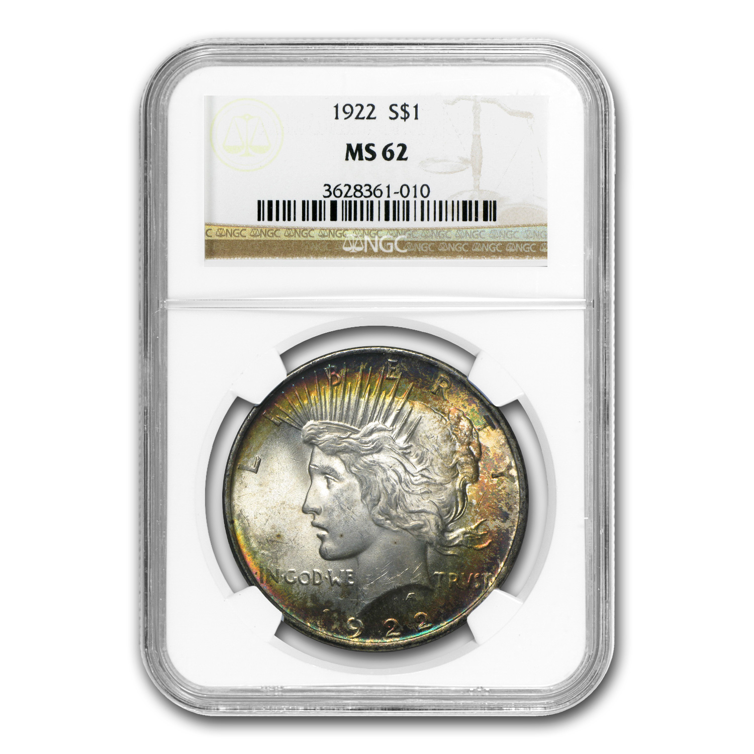 1922 Peace Dollar MS-62 NGC (Beautiful Obv Toning)