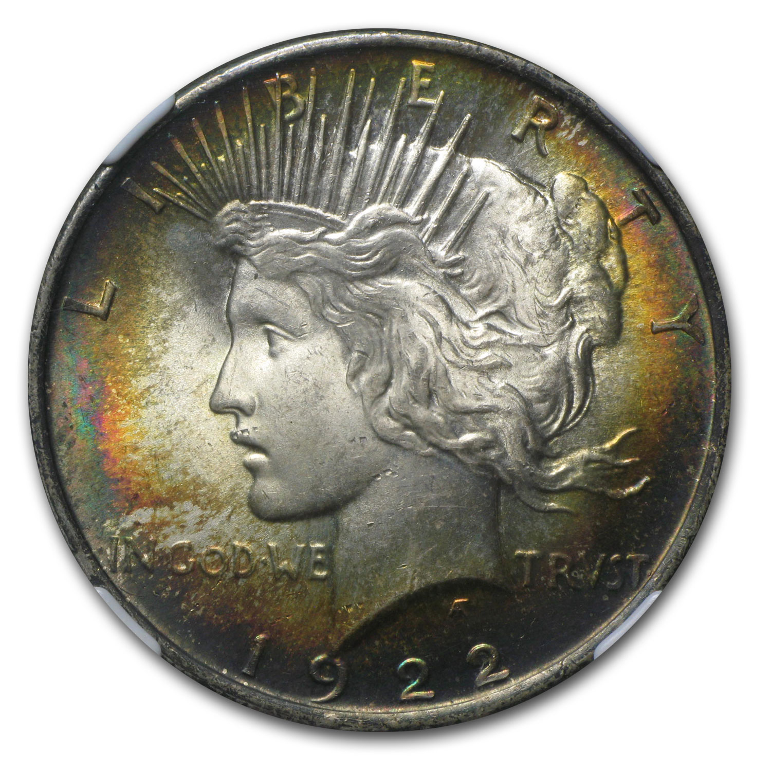 1922 Peace Dollar MS-64 NGC Beautiful Obverse Toning