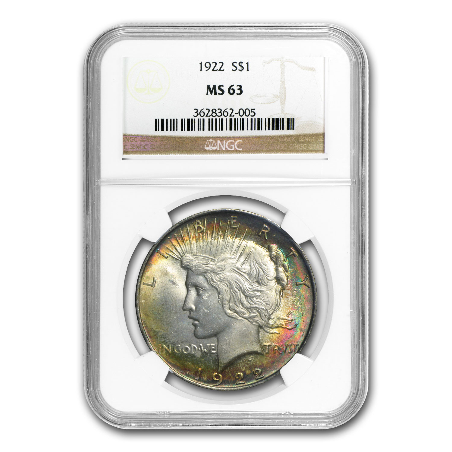 1922 Peace Dollar MS-63 NGC (Obverse Toning)