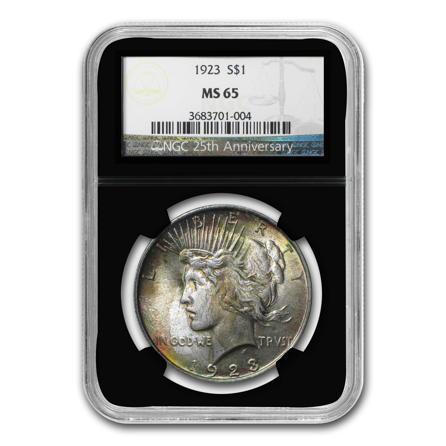 1923 Peace Dollar MS-65 NGC (Beautiful Obv Toning)