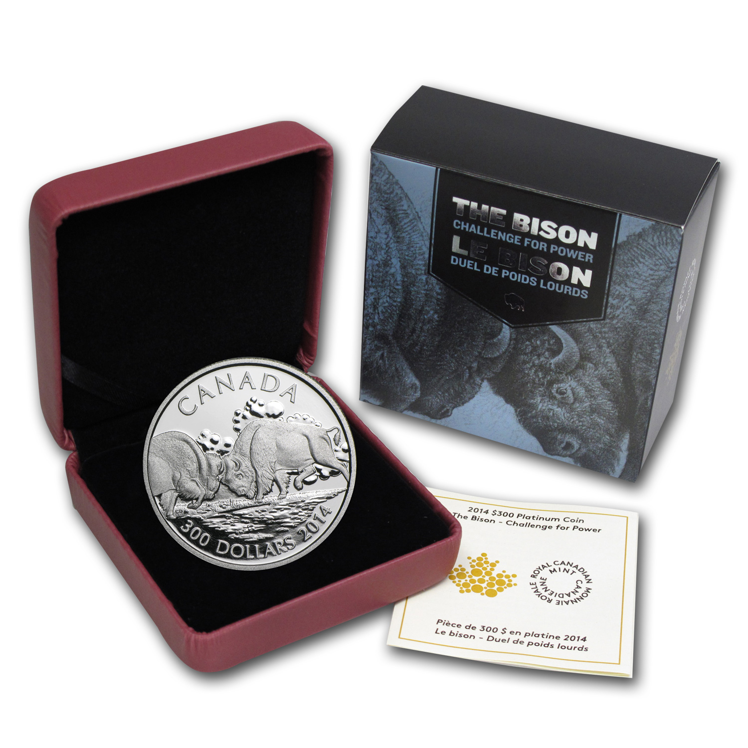2014 1 oz Platinum Canadian $300 - Fighting Bison