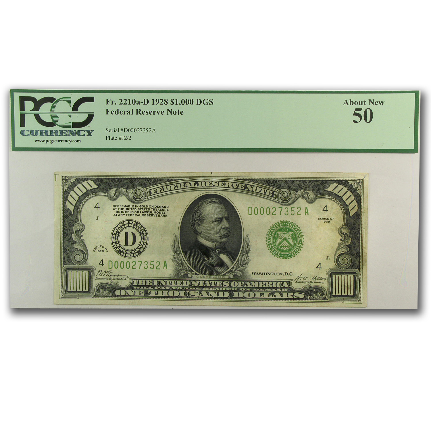 1928 (D-Cleveland) $1,000 FRN About New-50 PMGS