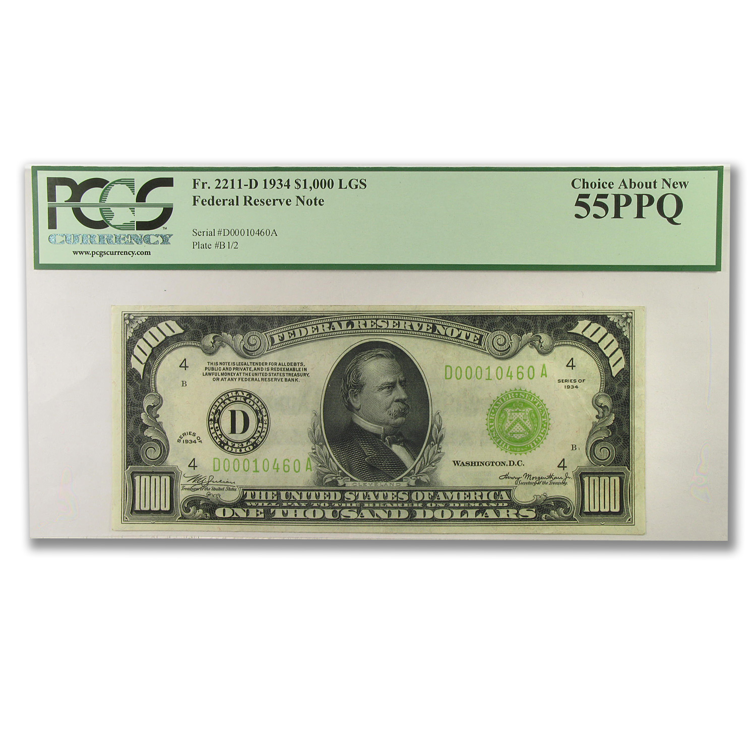 1934 (D-Cleveland) $1,000 FRN LGS PCGS Choice About New 55 PPQ