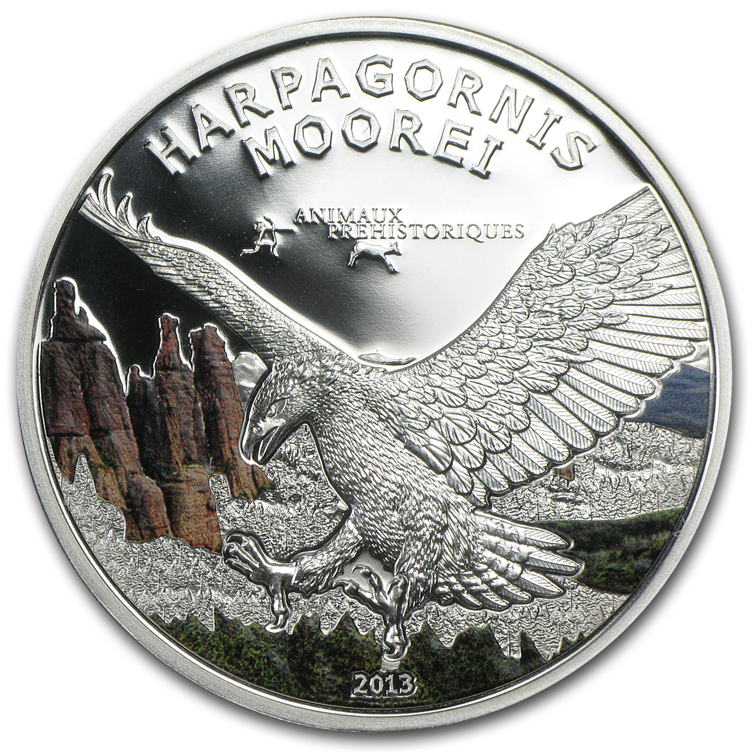 2013 Gabon Silver Proof Prehistoric Wildlife Moorei Eagle