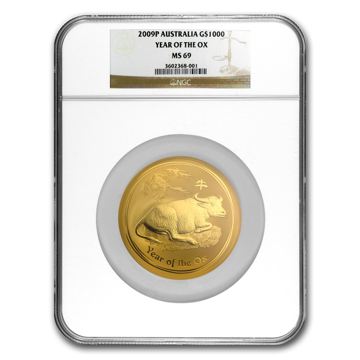 2009 10 oz Gold Lunar Year of the Ox MS-69 NGC (Series II)