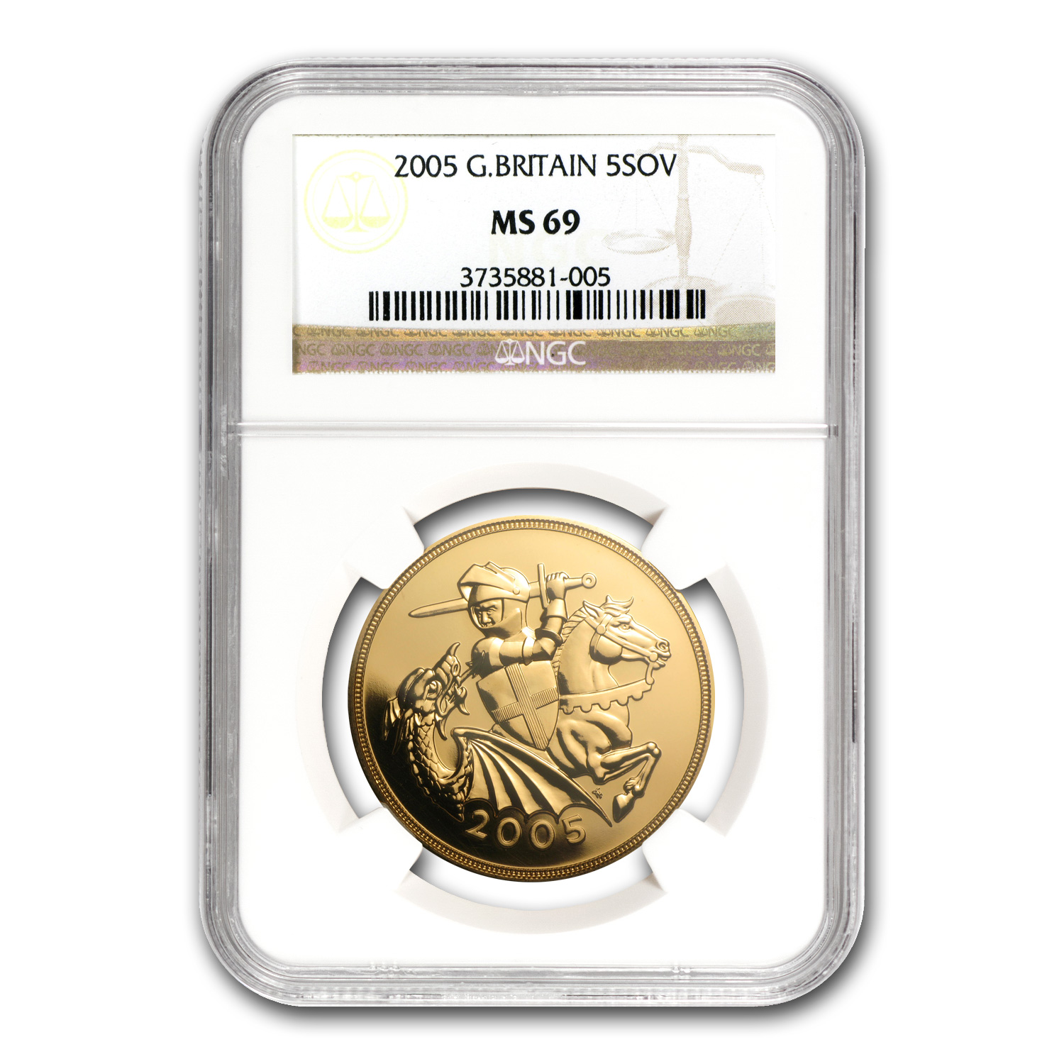 2005 Great Britain Gold £5 Sov MS-69 NGC