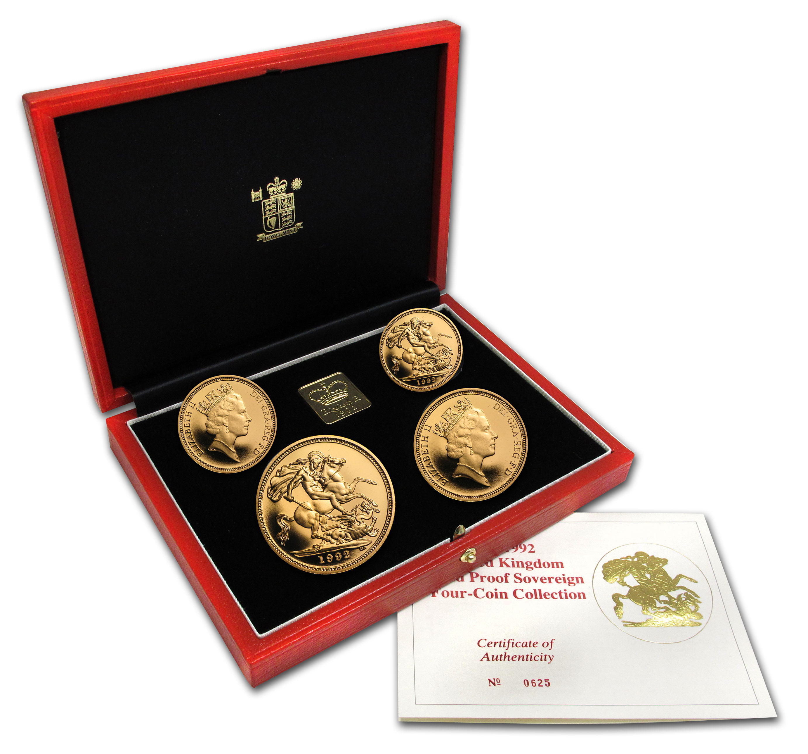 1992 Great Britain 4-Coin Gold Sovereign Proof Set