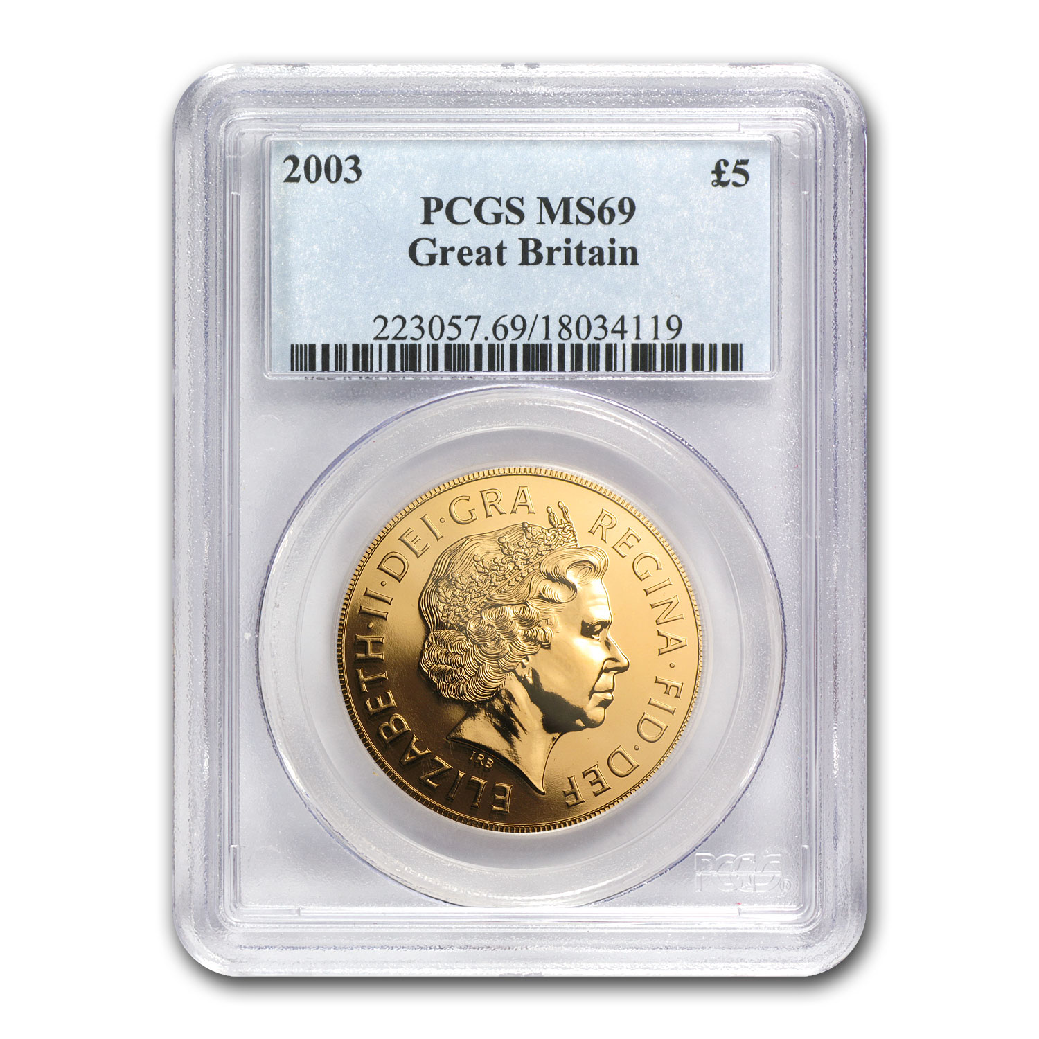 Great Britain 2003 Gold 5 Pounds Sovereign MS-69 PCGS