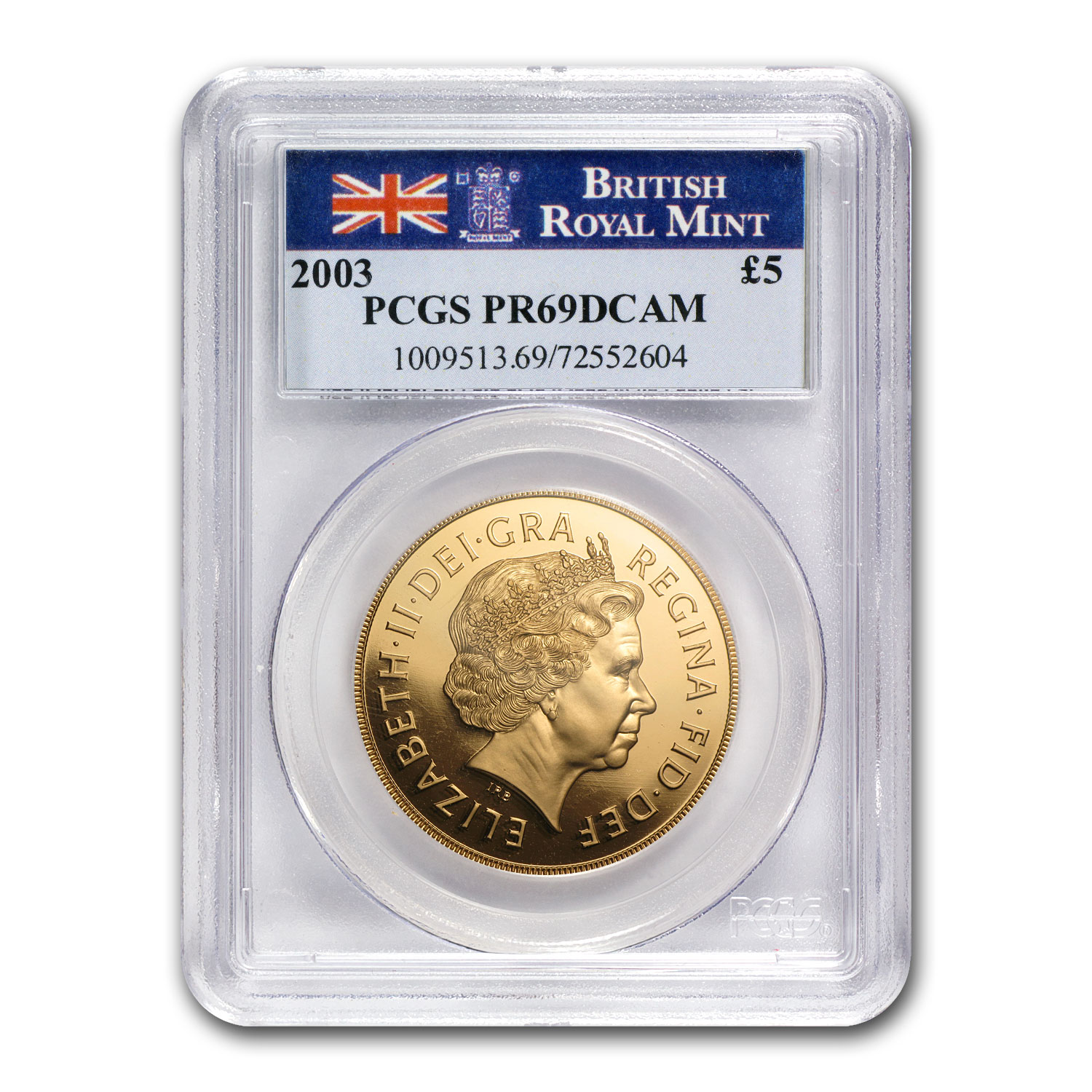 2003 Great Britain Gold £5 Sovereign PR-69 PCGS