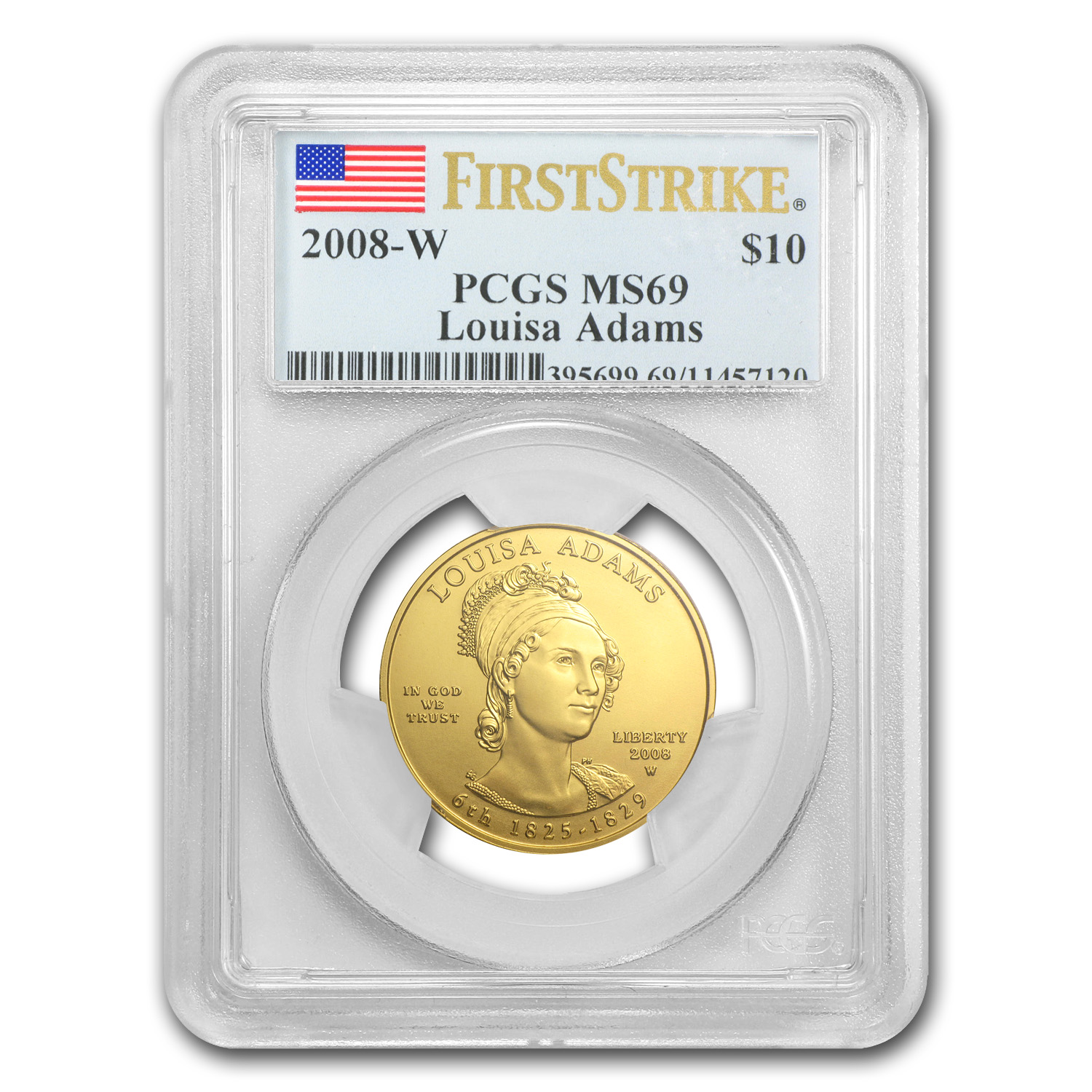 2008-W 1/2 oz Gold Louisa Adams MS-69 PCGS (First Strike)