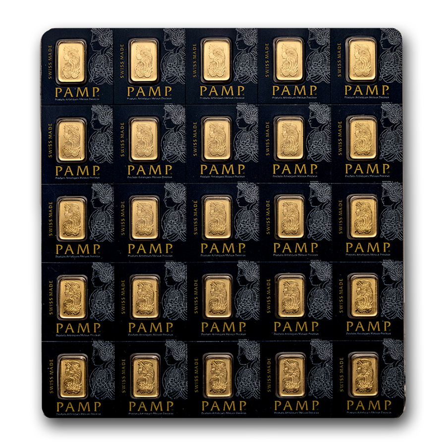25x1 gram Gold Bar-Pamp Suisse Lady Fortuna - In Individual Assay