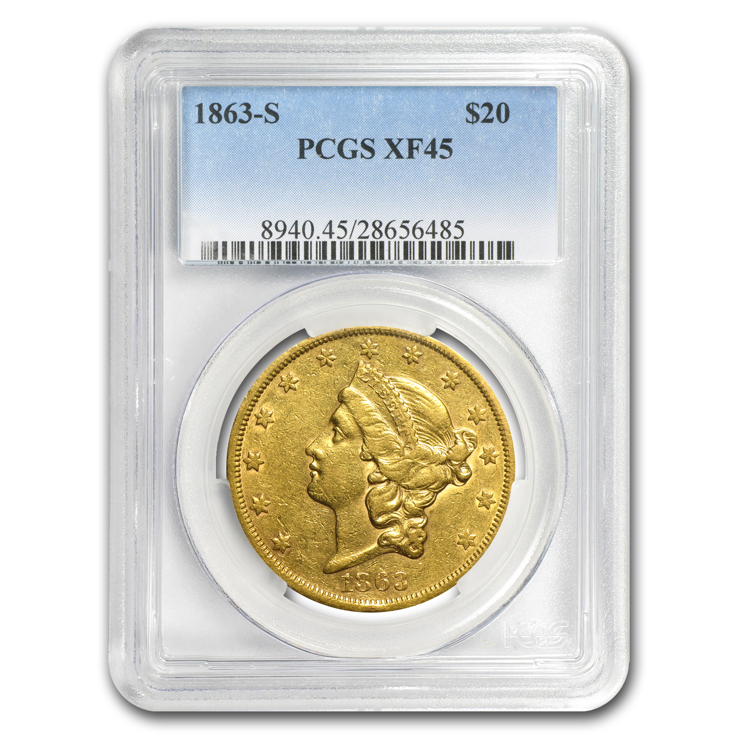 1863-S $20 Liberty Gold Double Eagle XF-45 PCGS