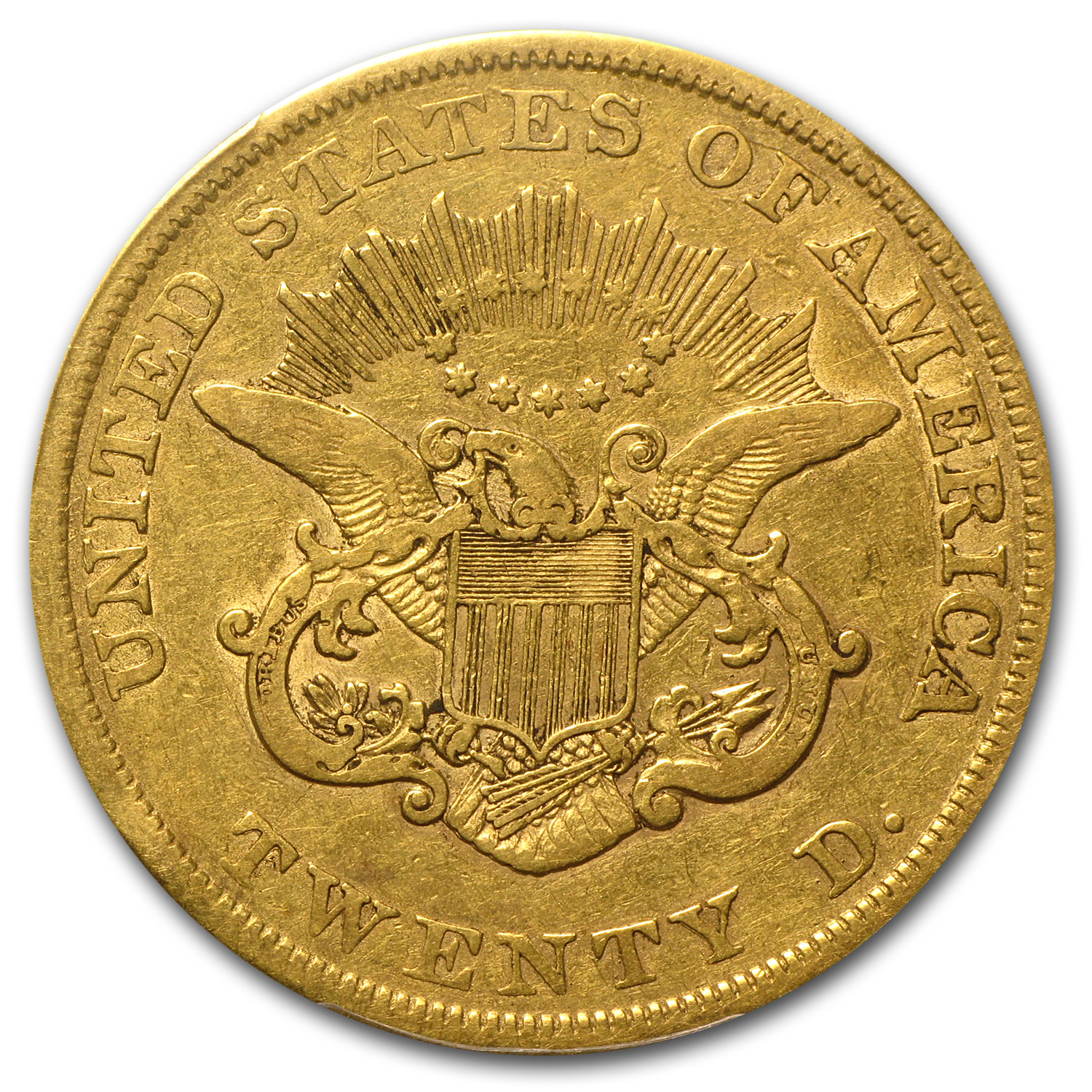 1857 $20 Gold Liberty Double Eagle - F-12 PCGS - Lowball