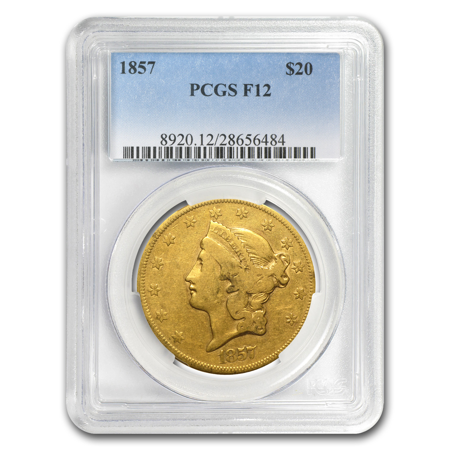 1857 $20 Liberty Gold Double Eagle F-12 PCGS (Lowball)