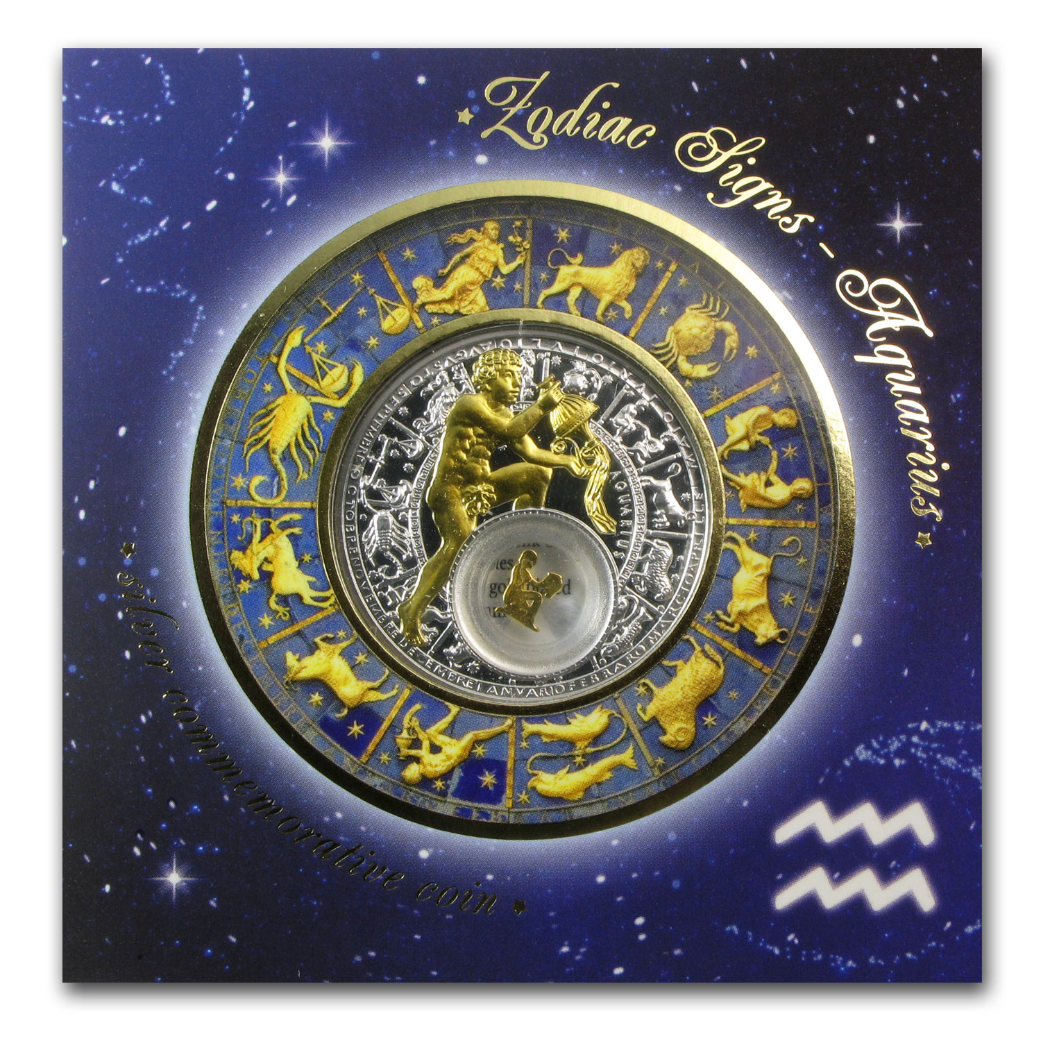 Belarus 2013 Silver Proof 20 Rubles Zodiac Signs - Aquarius
