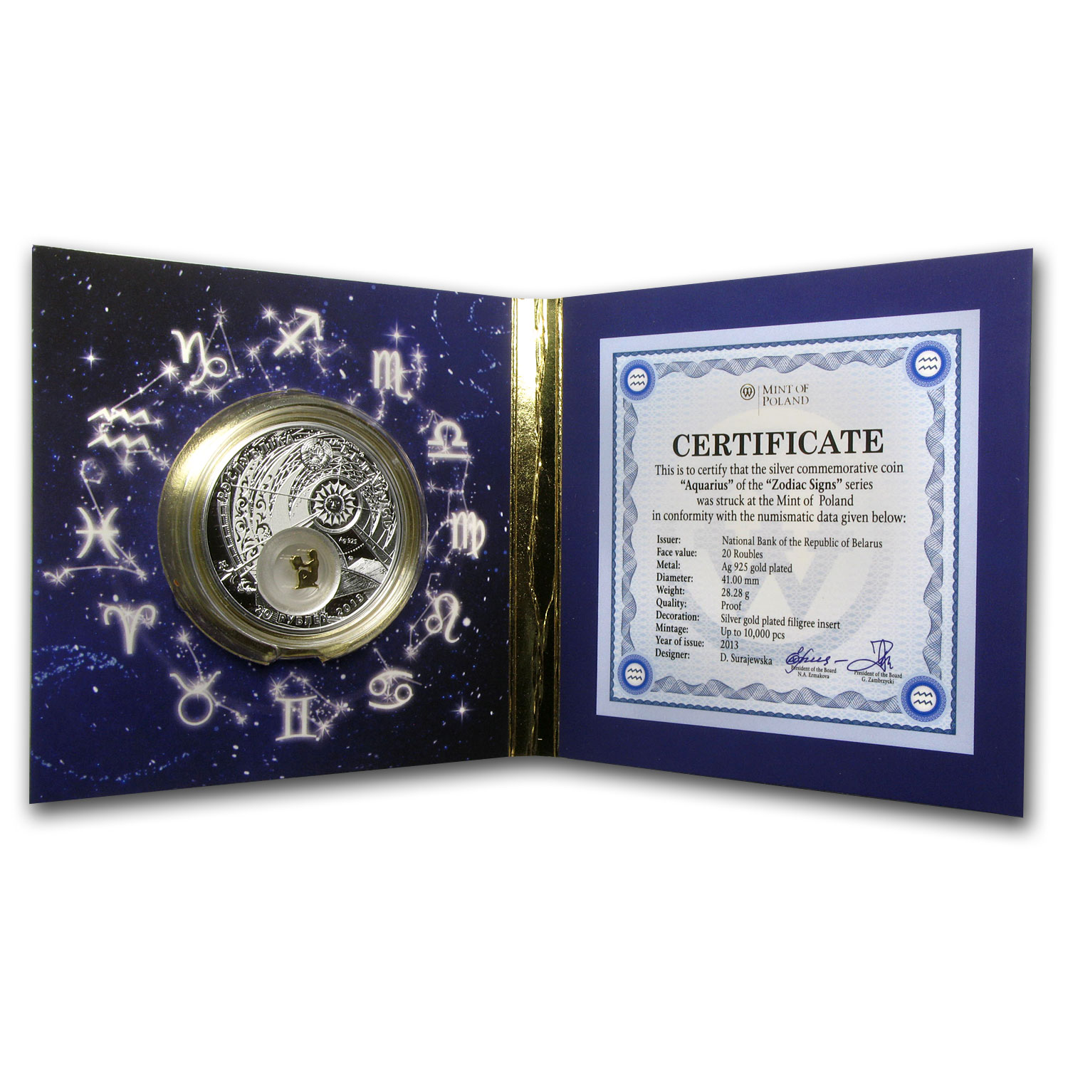 2013 Belarus Silver Proof 20 Rubles Zodiac Signs Aquarius