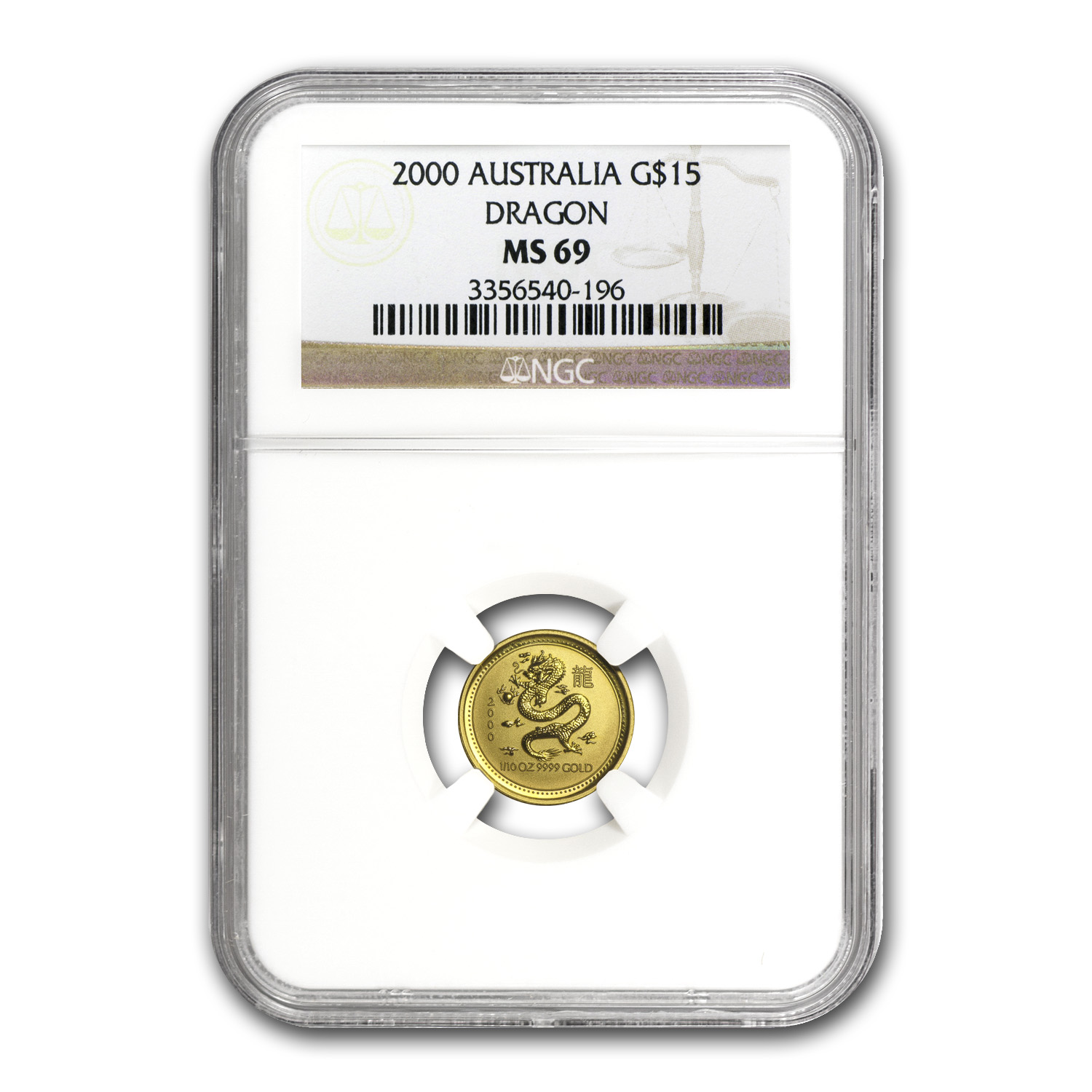 2000 1/10 oz Gold Lunar Year of the Dragon MS-69 NGC (Series I)