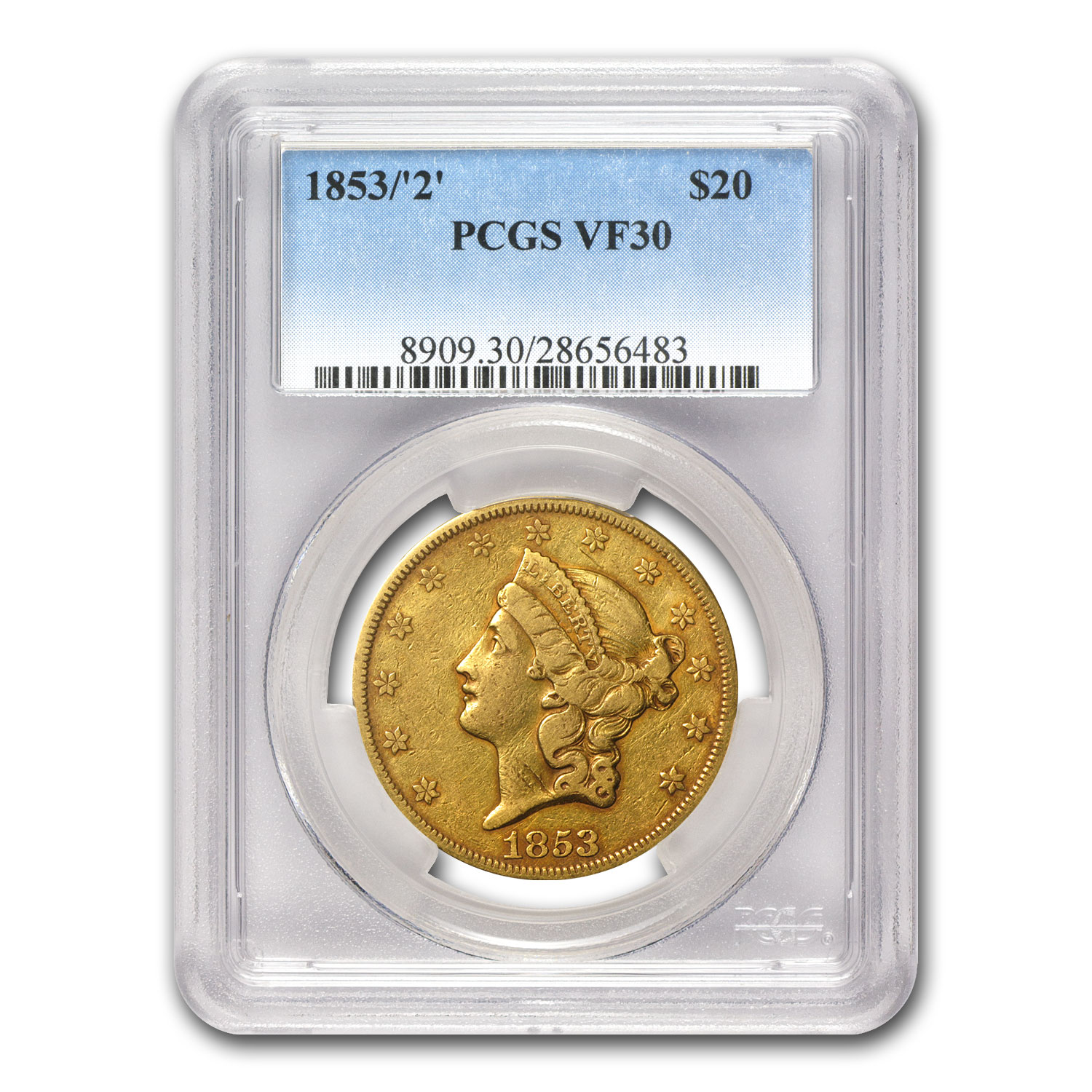 1853/2 $20 Gold Liberty Double Eagle VF-30 PCGS
