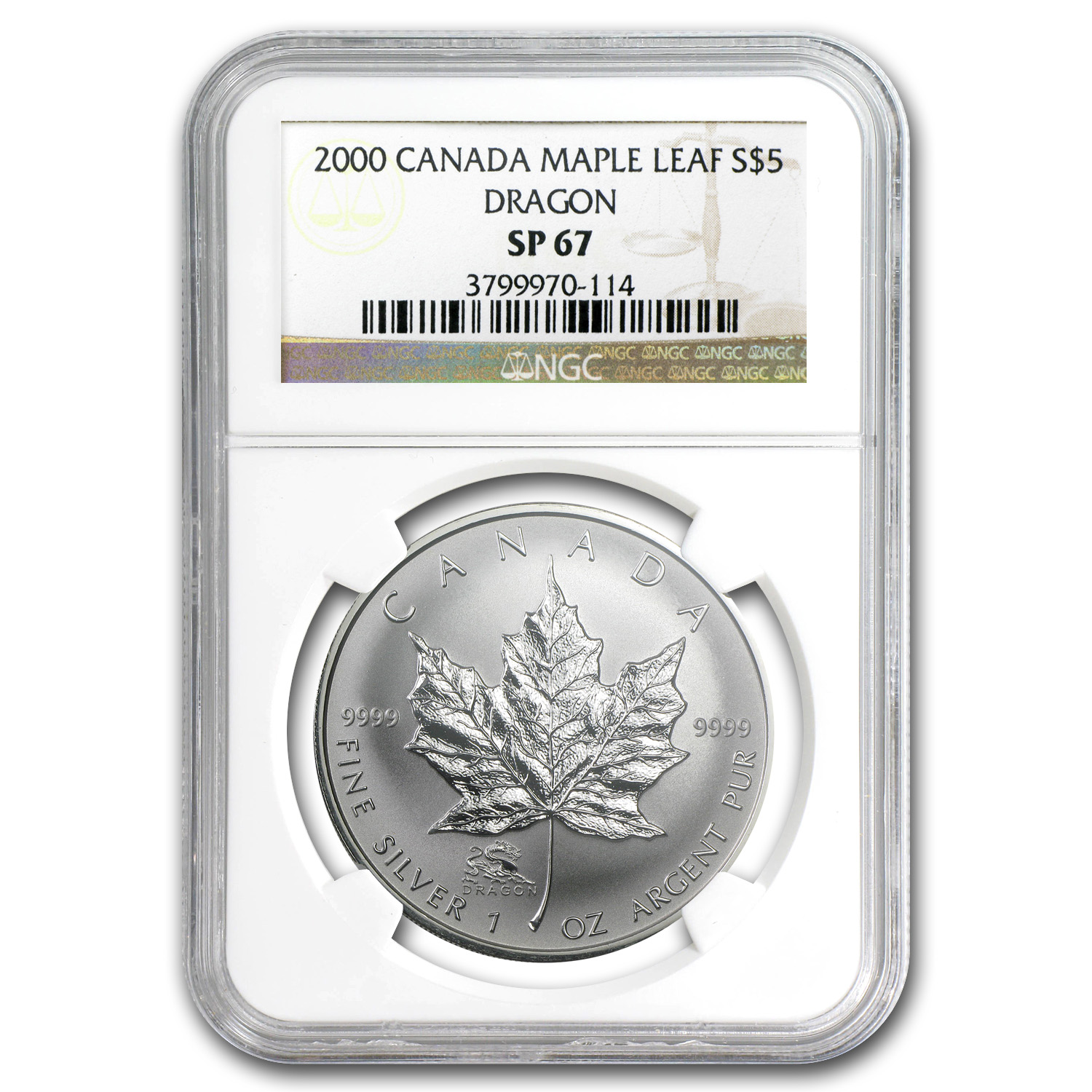 2000 1 oz Silver Canadian Maple Leaf Dragon Privy - SP-67 NGC