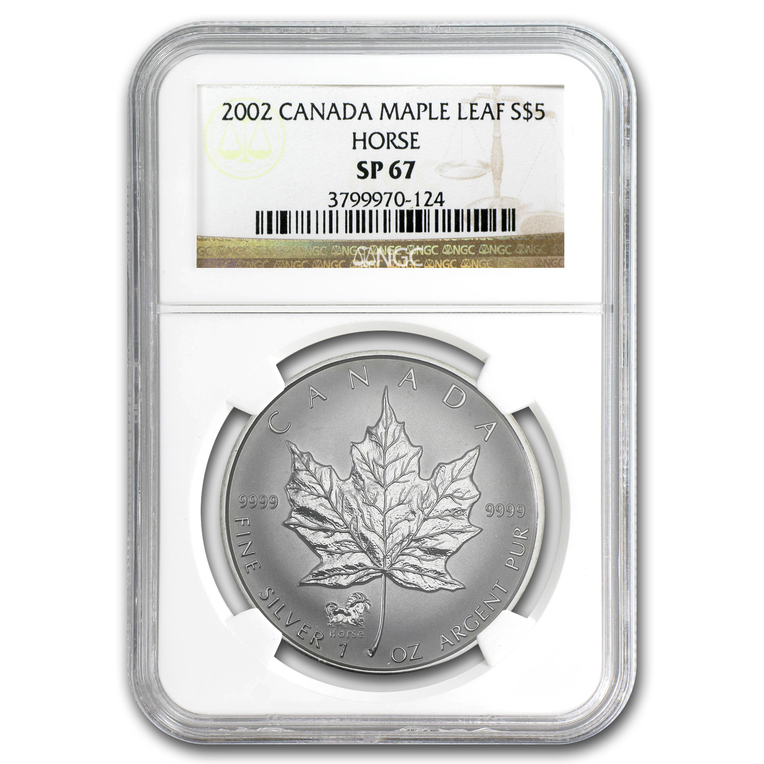 2002 1 oz Silver Canadian Maple Leaf Horse Privy - SP-67 NGC