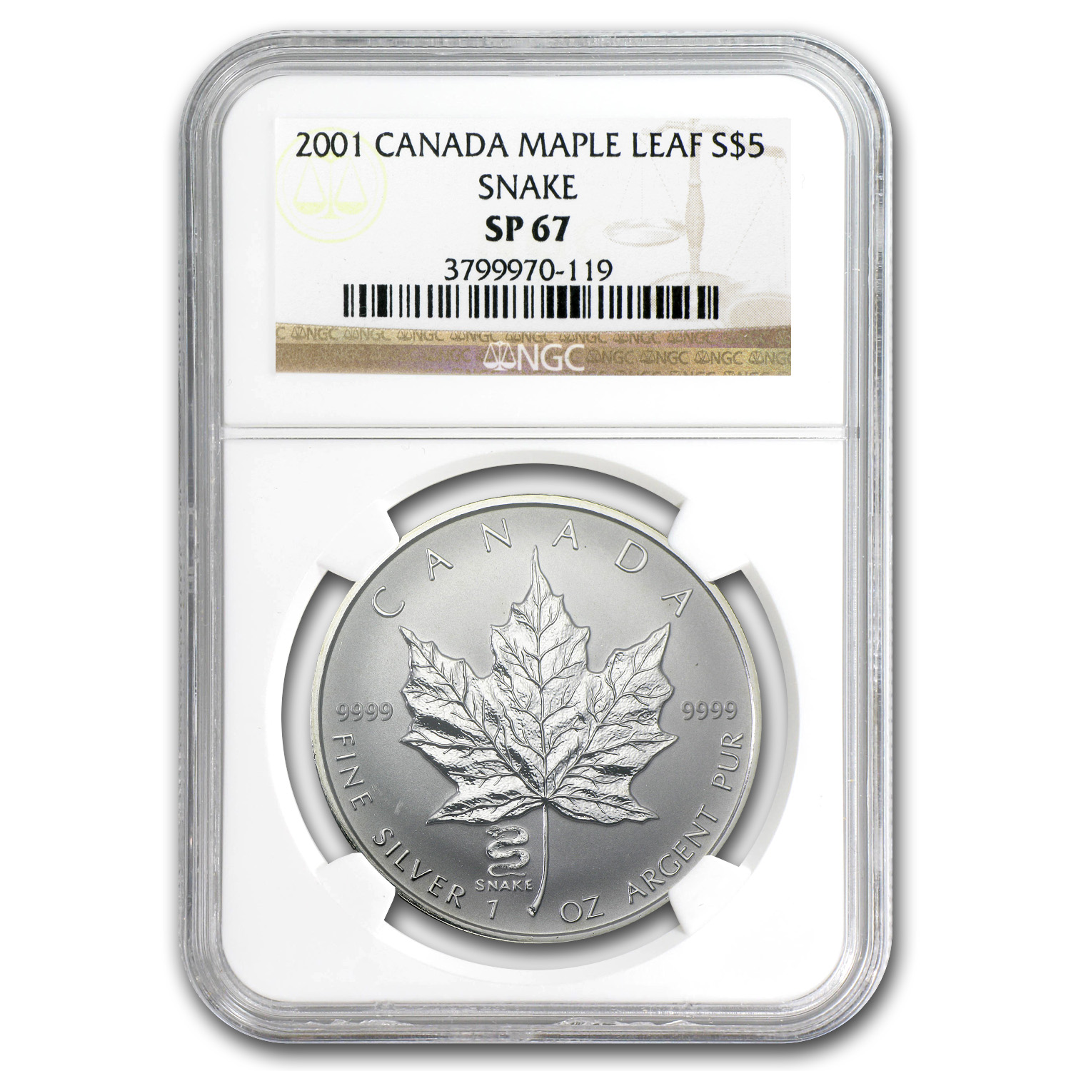 2001 1 oz Silver Canadian Maple Leaf Snake Privy - SP-67 NGC