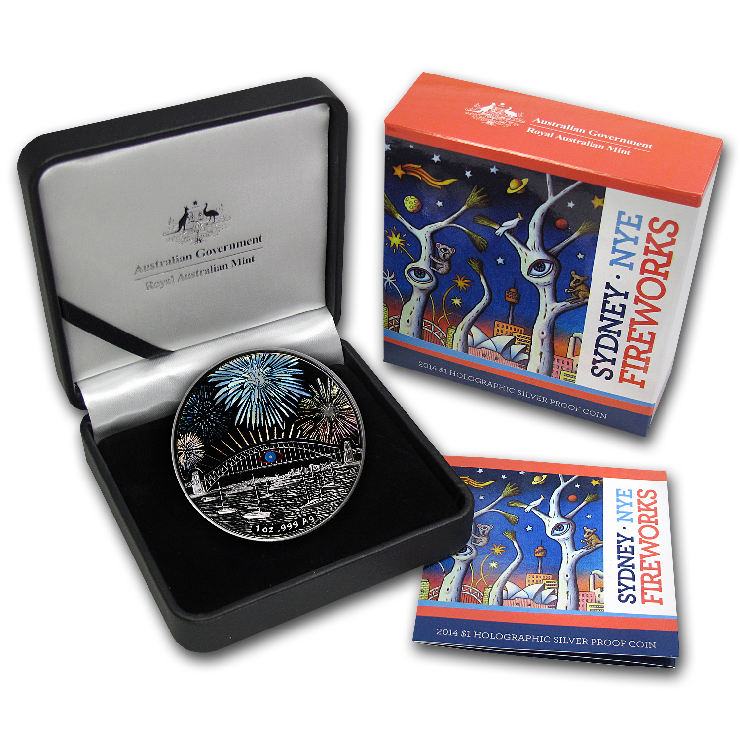 2014 $1 Sydney New Years Eve Fireworks Hologram Silver Proof Coin