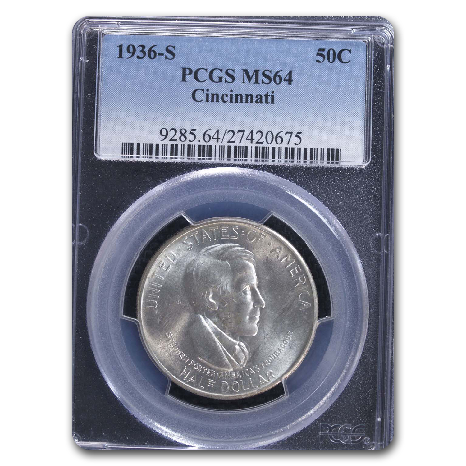 1936-S Cincinnati Half Dollar Commem MS-64 PCGS