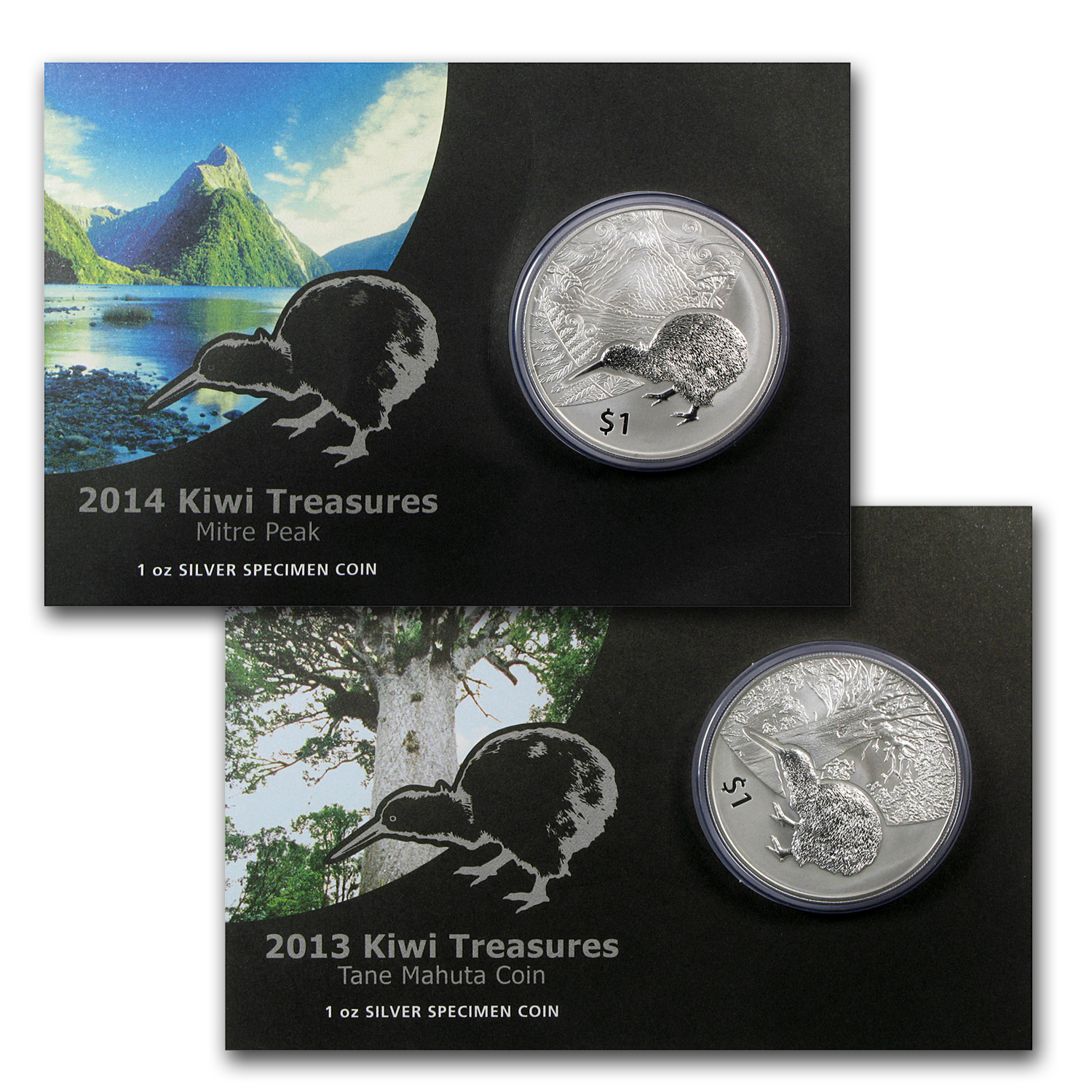 2013-14 New Zealand 2-Coin 1 oz Silver $1 Kiwi Specimen Set