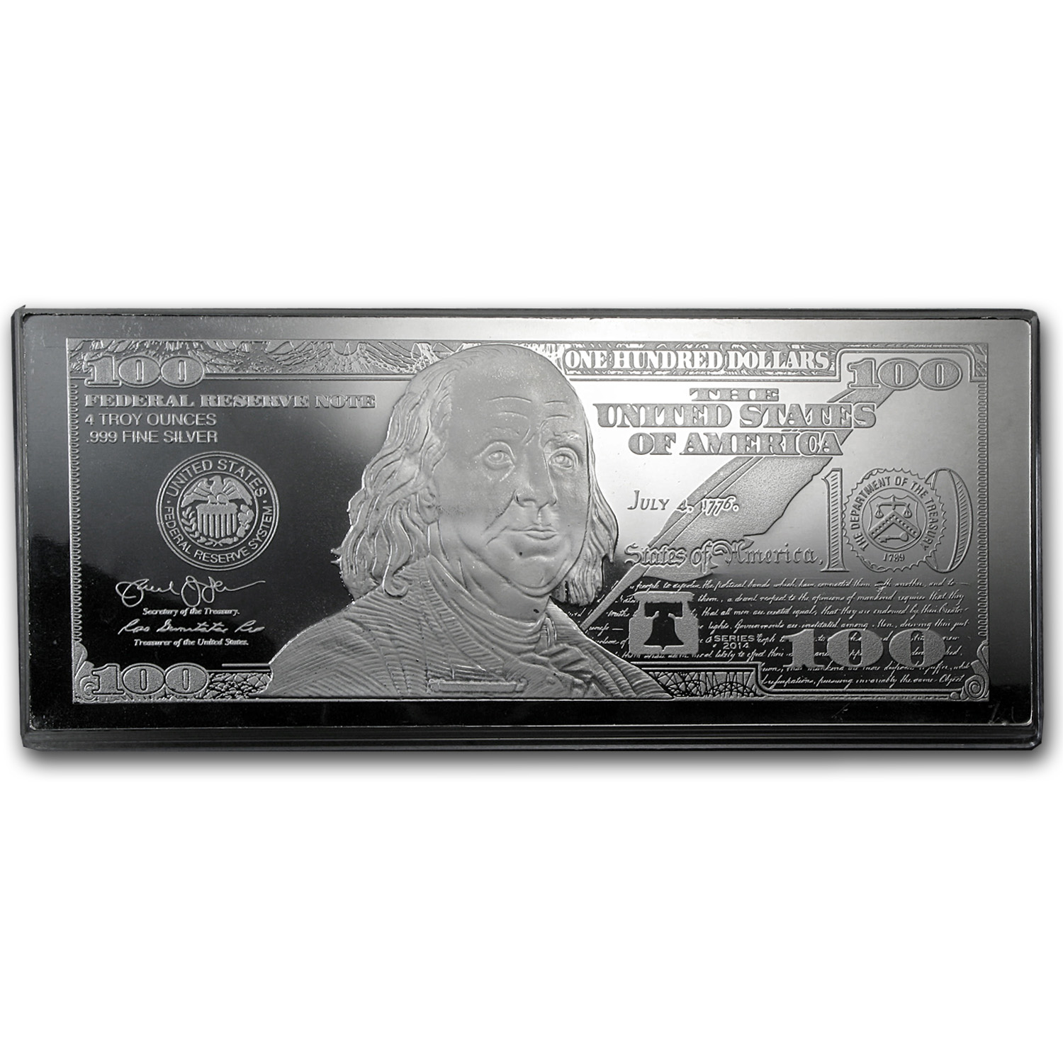 4 oz Silver Bar - 2014 $100 Bill (w/Box & COA)