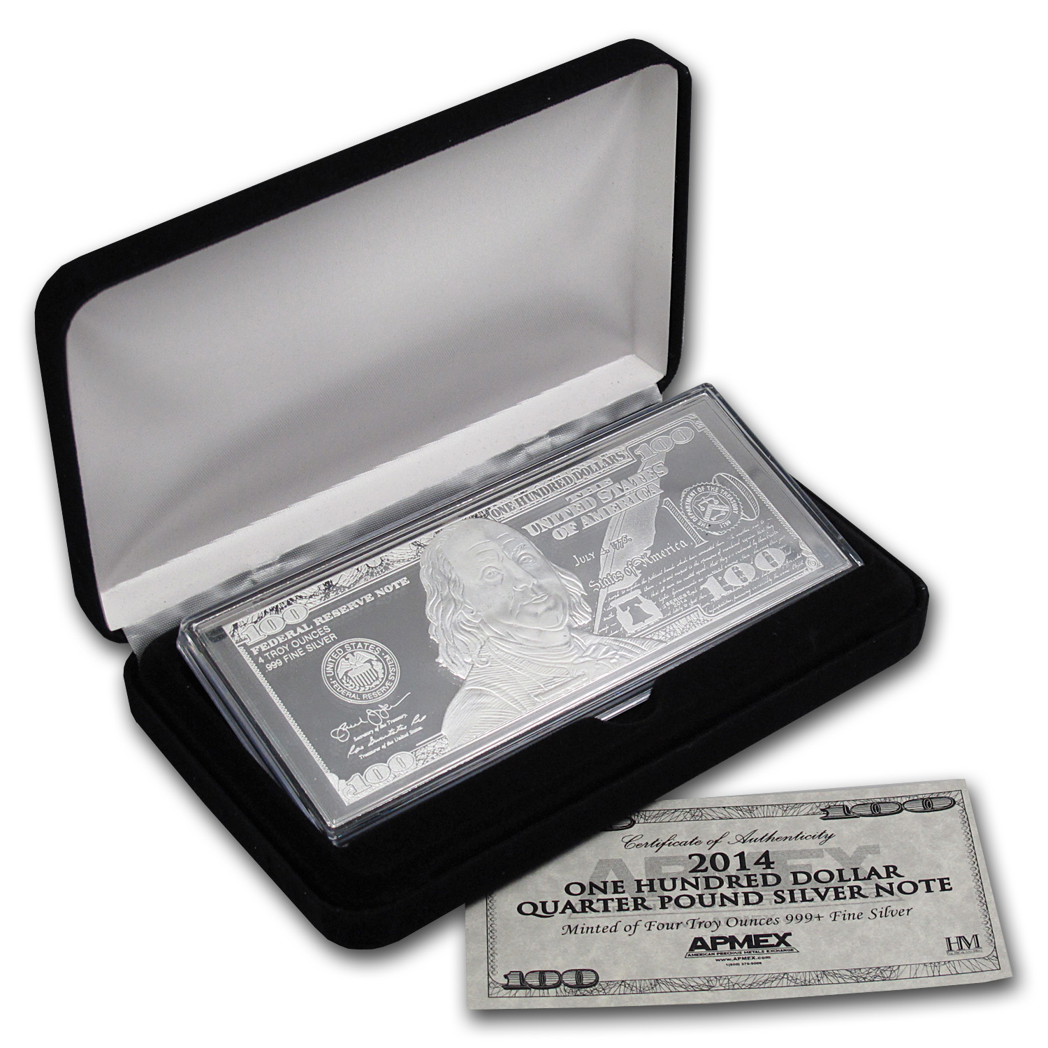 4 oz Silver Bars - 2014 $100 Bill (W/Box & COA)