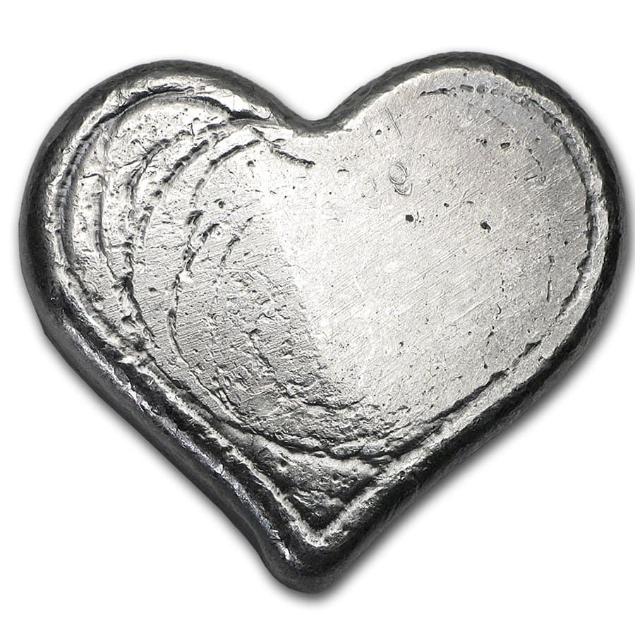 1 oz Silver Hearts - Bison Bullion
