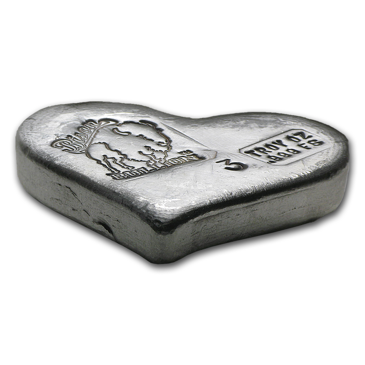 3 oz Silver Hearts - Bison Bullion