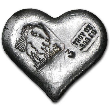 3 Oz Silver Heart Bison Bullion All Other Brands