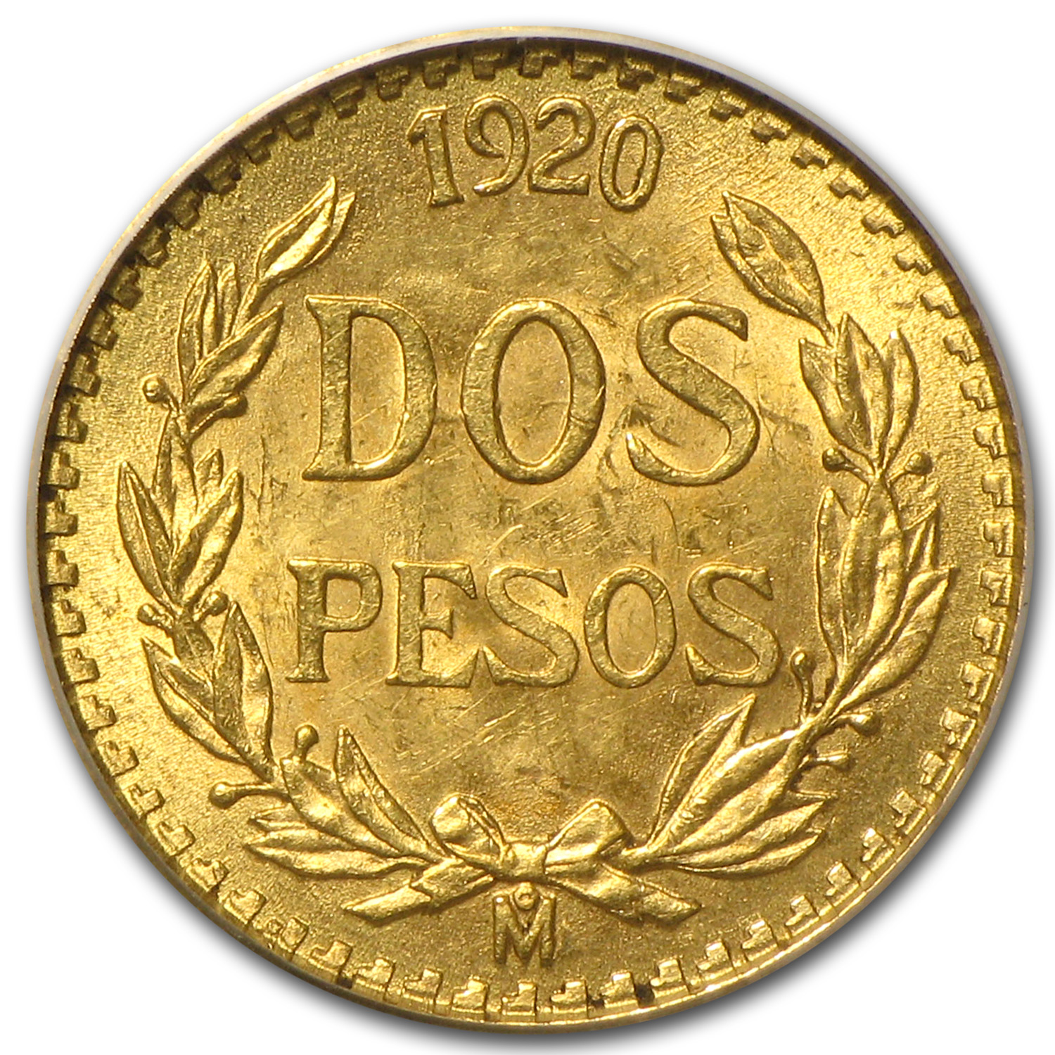 1920 Mexico Gold 2 Pesos MS-63 PCGS