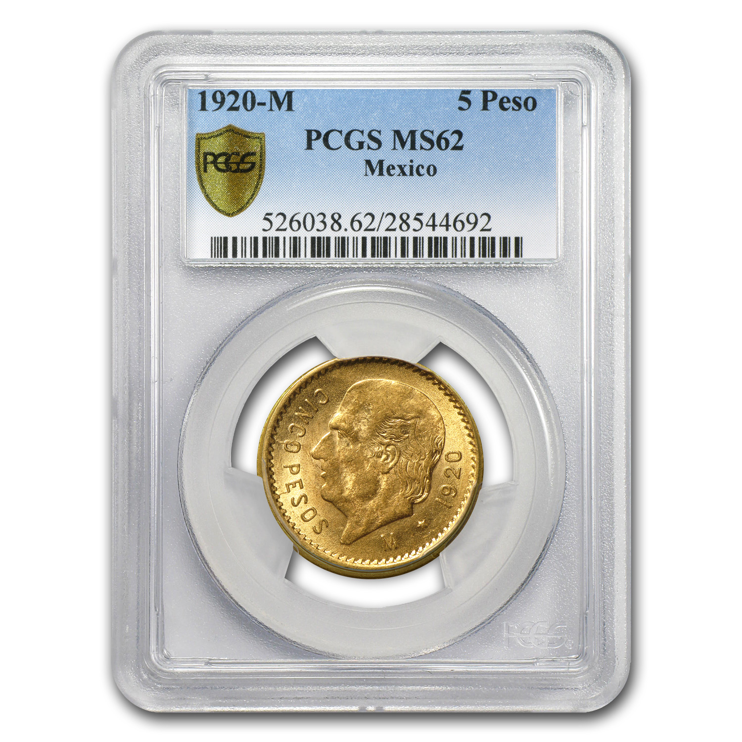 Mexico 1920 5 Pesos Gold Coin - MS-62 PCGS