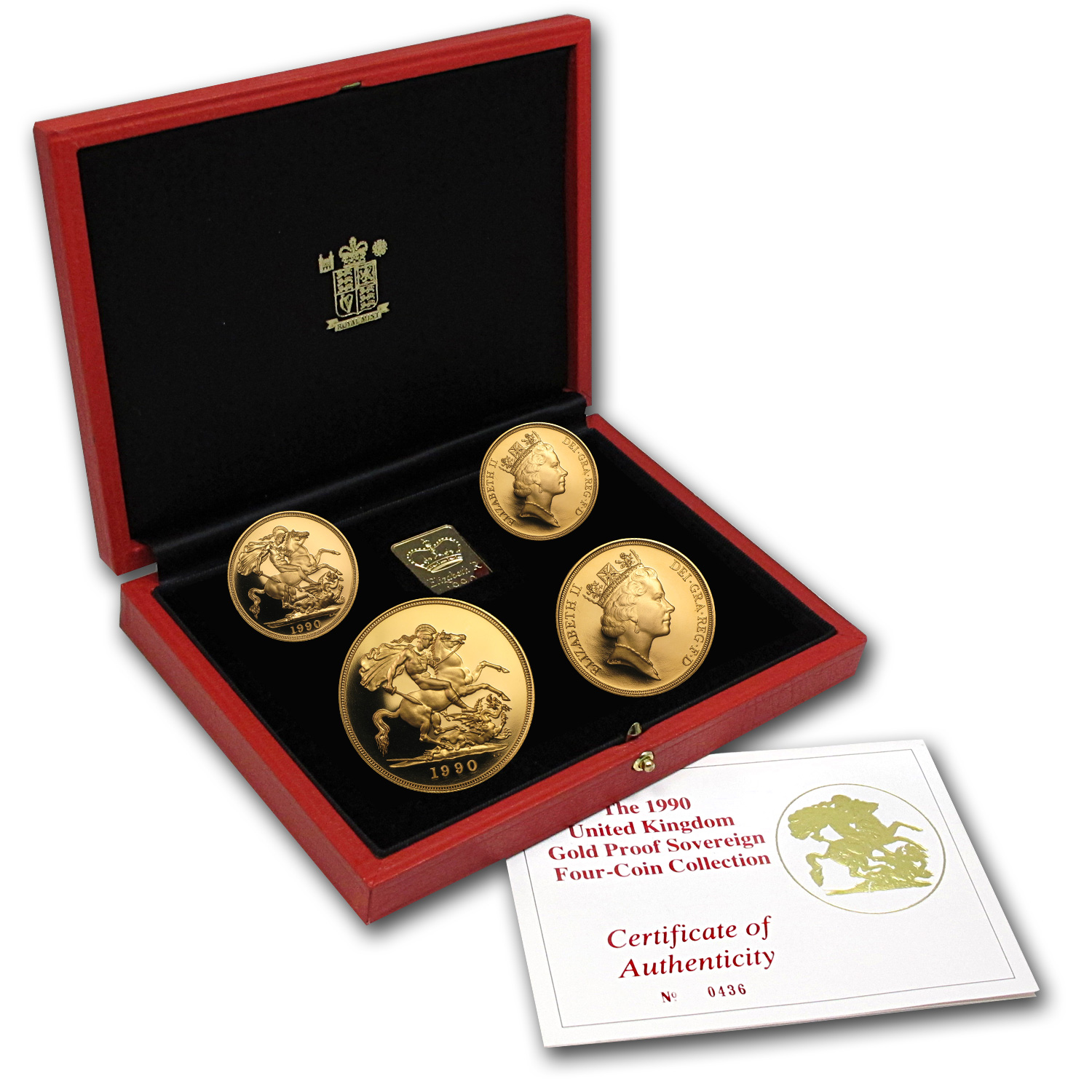 1990 Great Britain 4-Coin Gold Sovereign Proof Set