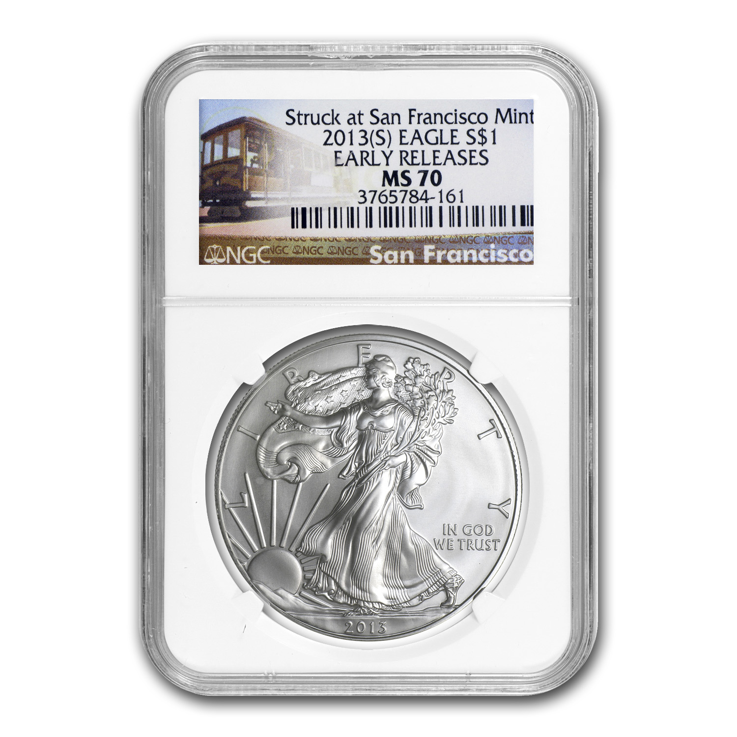 2013 (S) Silver American Eagle MS-70 NGC (ER, Trolley Label)