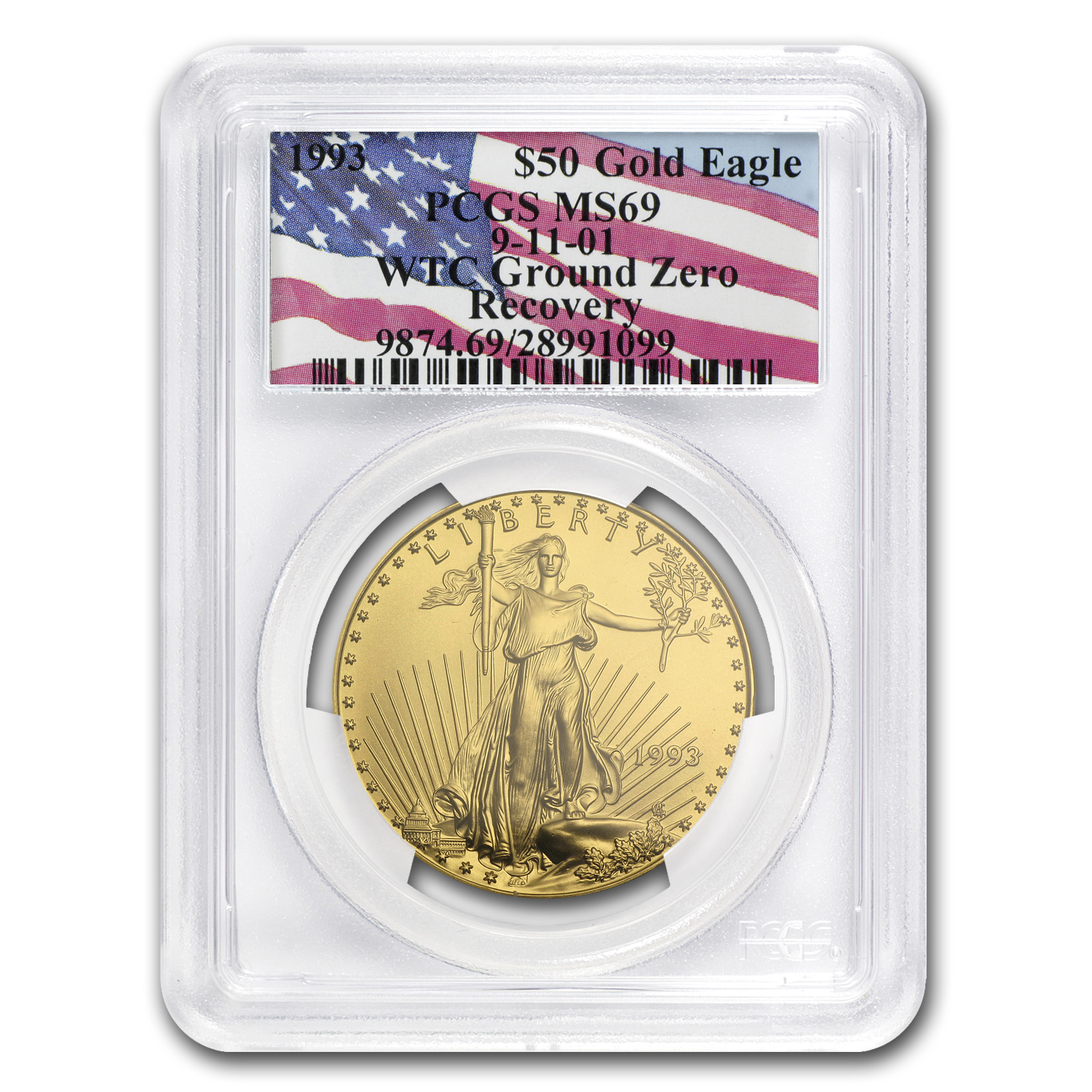 1993 1 oz Gold American Eagle MS-69 PCGS (World Trade Center)